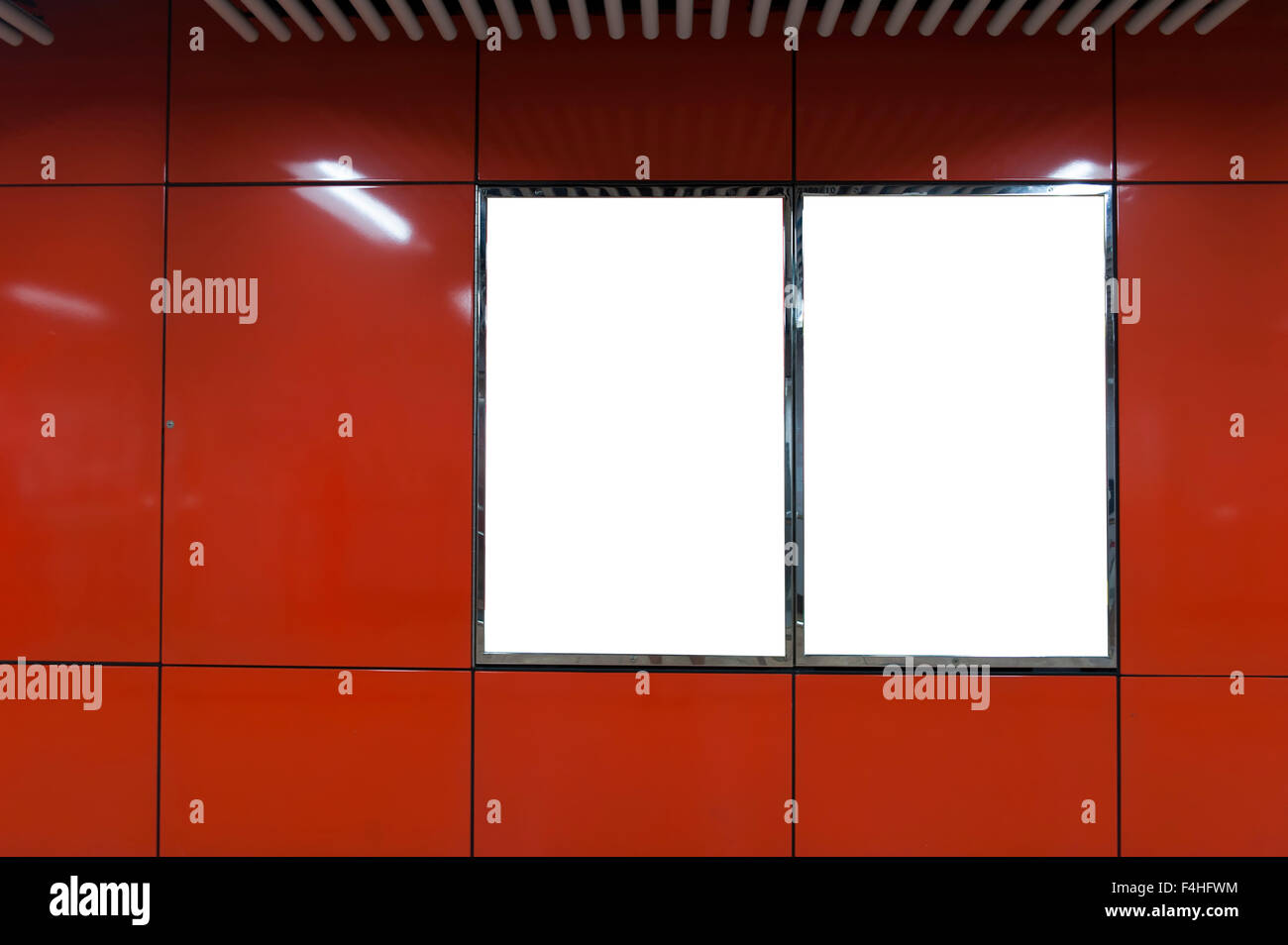 Red Empty billboard on the wall interior - Stock Image