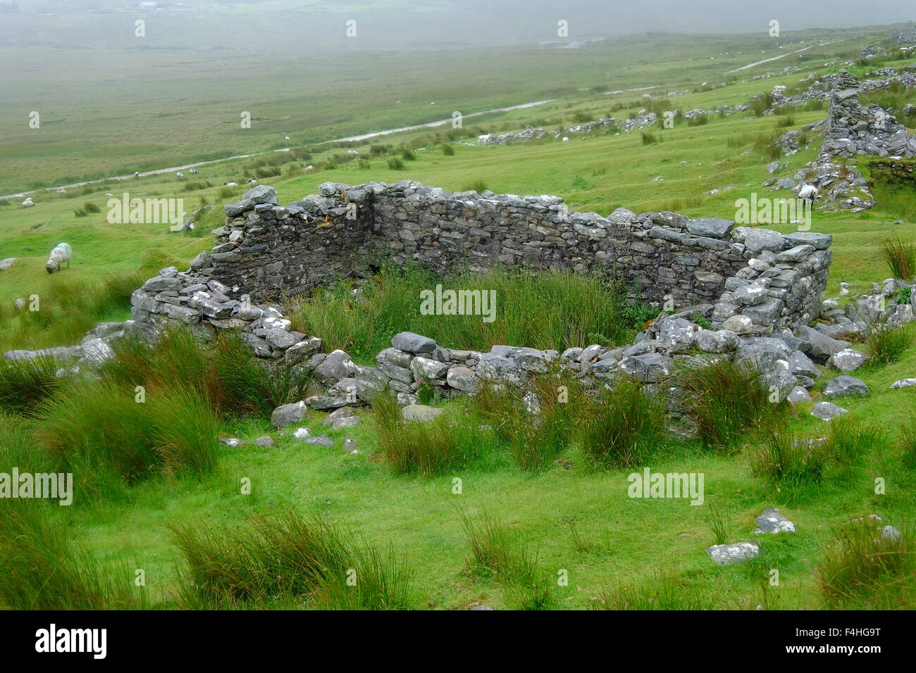 Deserted house at Slievemore, Achill Island, Ireland - Stock Image