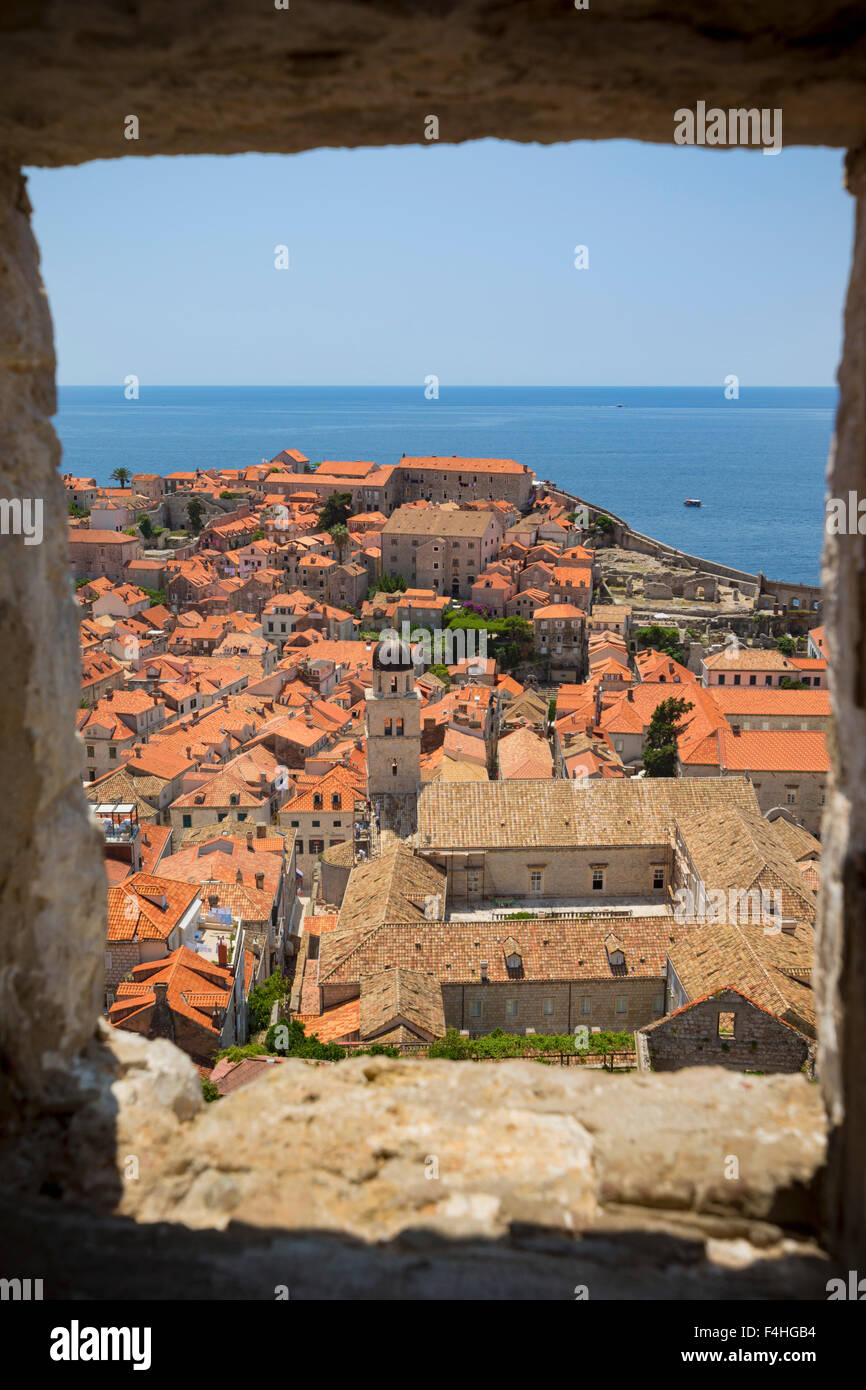 Dubrovnik, Dubrovnik-Neretva County, Croatia.  View over rooftops of the old town from the Minceta Tower. - Stock Image