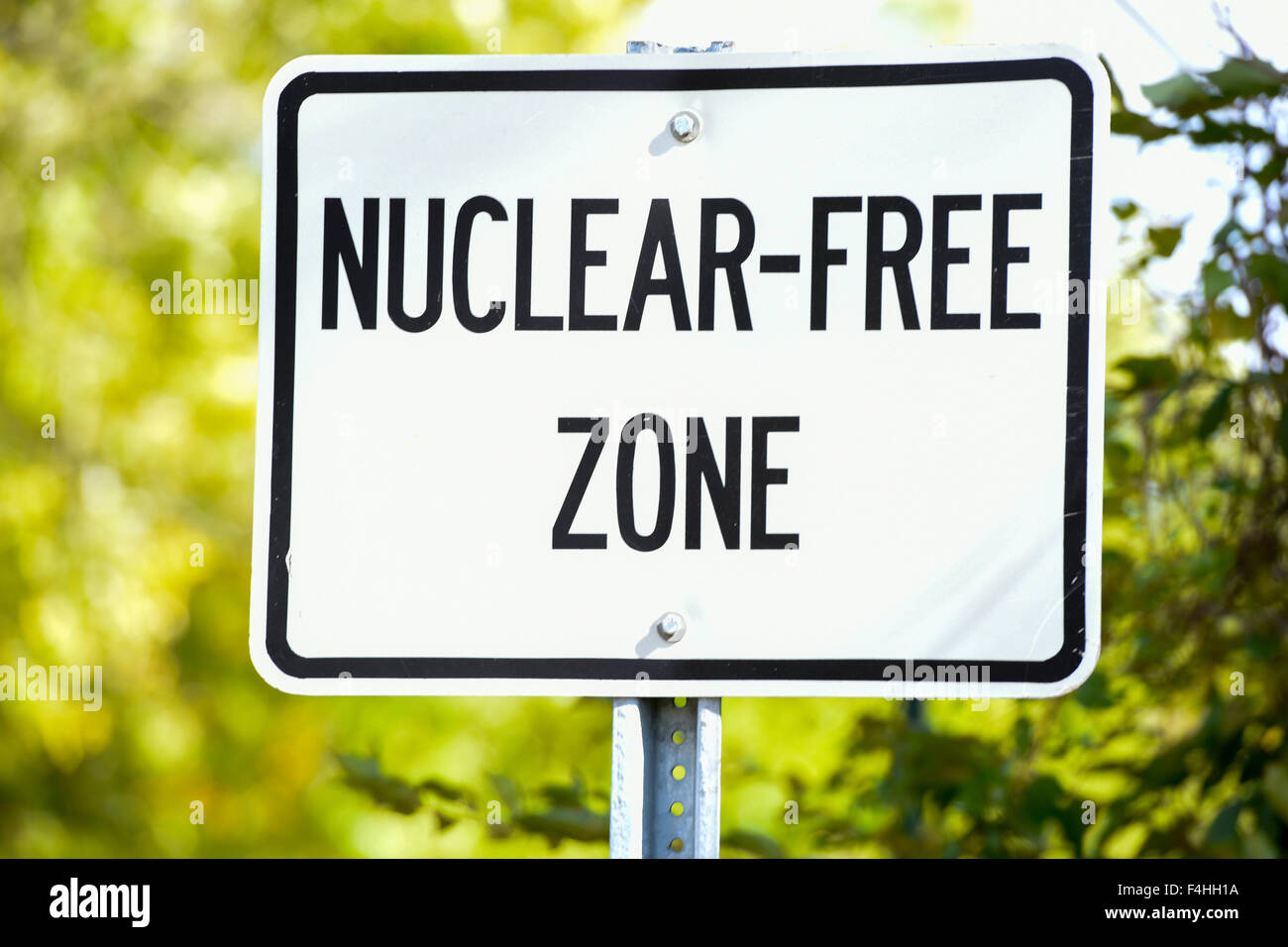 USA Maryland MD town of Garrett Park .  A sign on Strathmore Road states that this is a Nuclear Free Zone - Stock Image