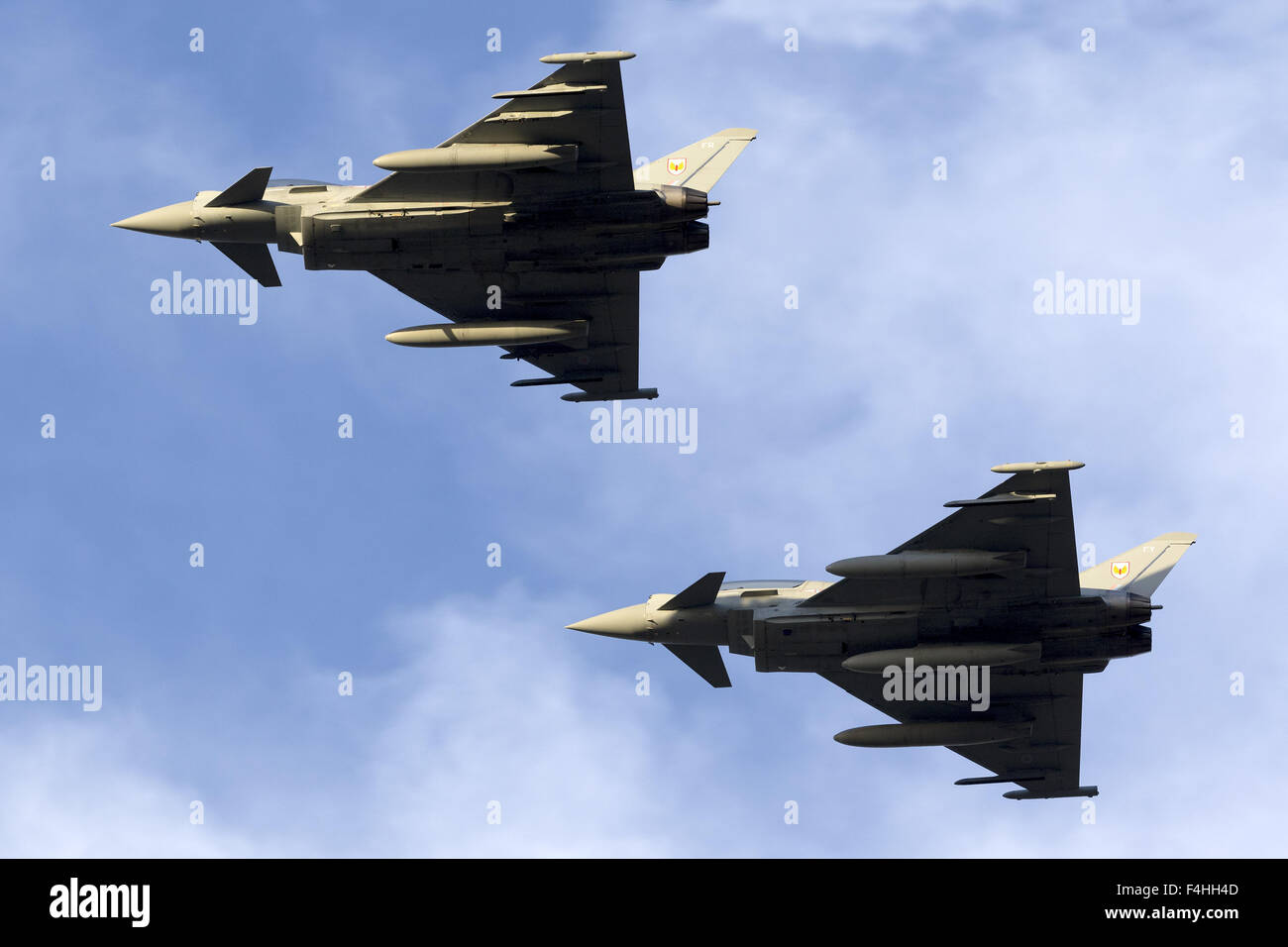 2 Royal Air Force Eurofighter EF-2000 Typhoon FGR4 overflying runway 31. - Stock Image
