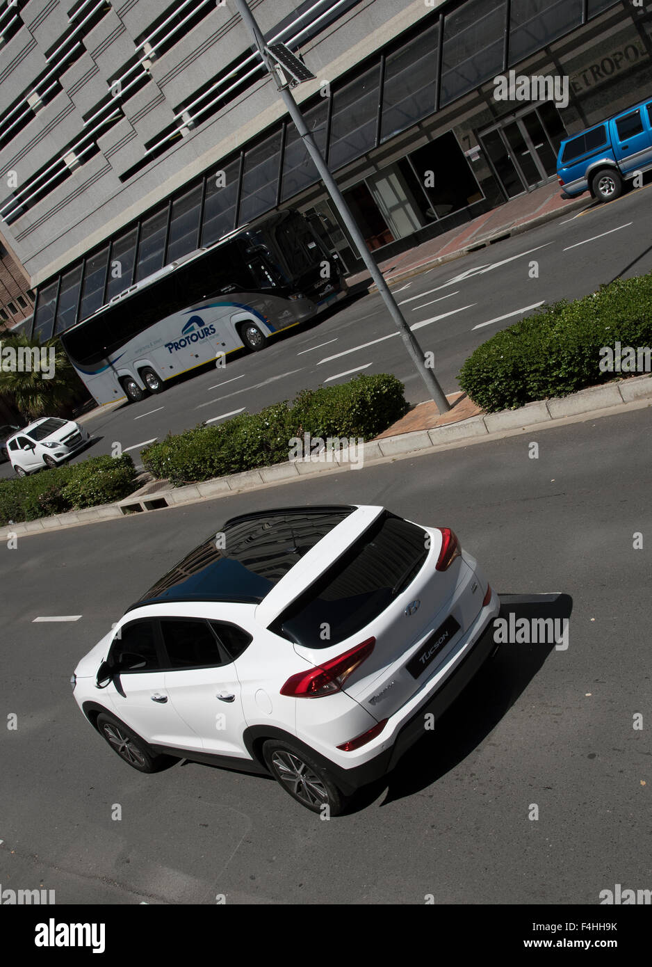 Next generation of Hyundai Tucson CRDi 4 WD  with a glass roof on a closed street in Cape Town South Africa - Stock Image