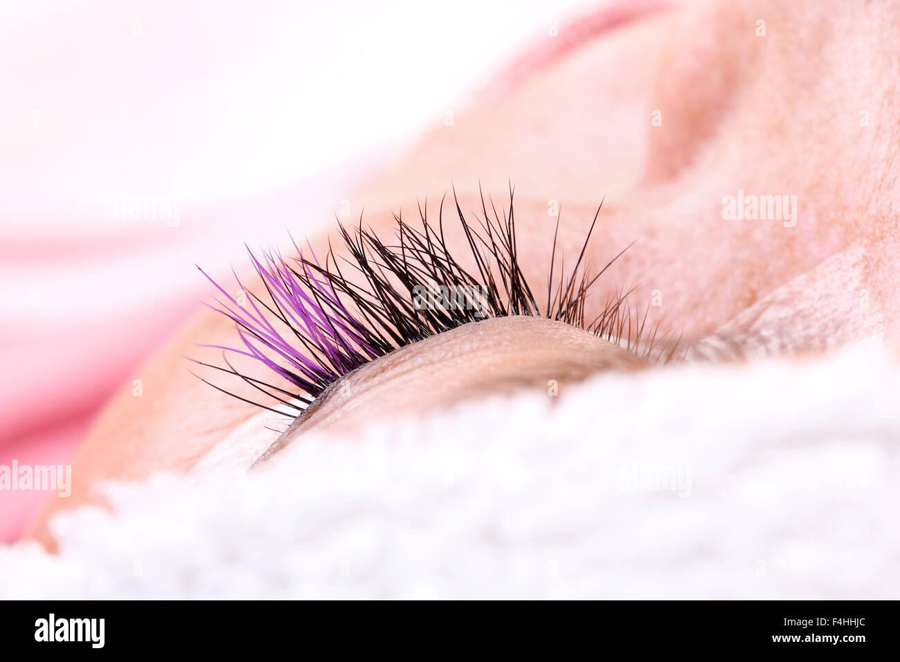 4554d17defd Lash making process, extreme long lashes with closed eye, woman eyelash  extension. Macro