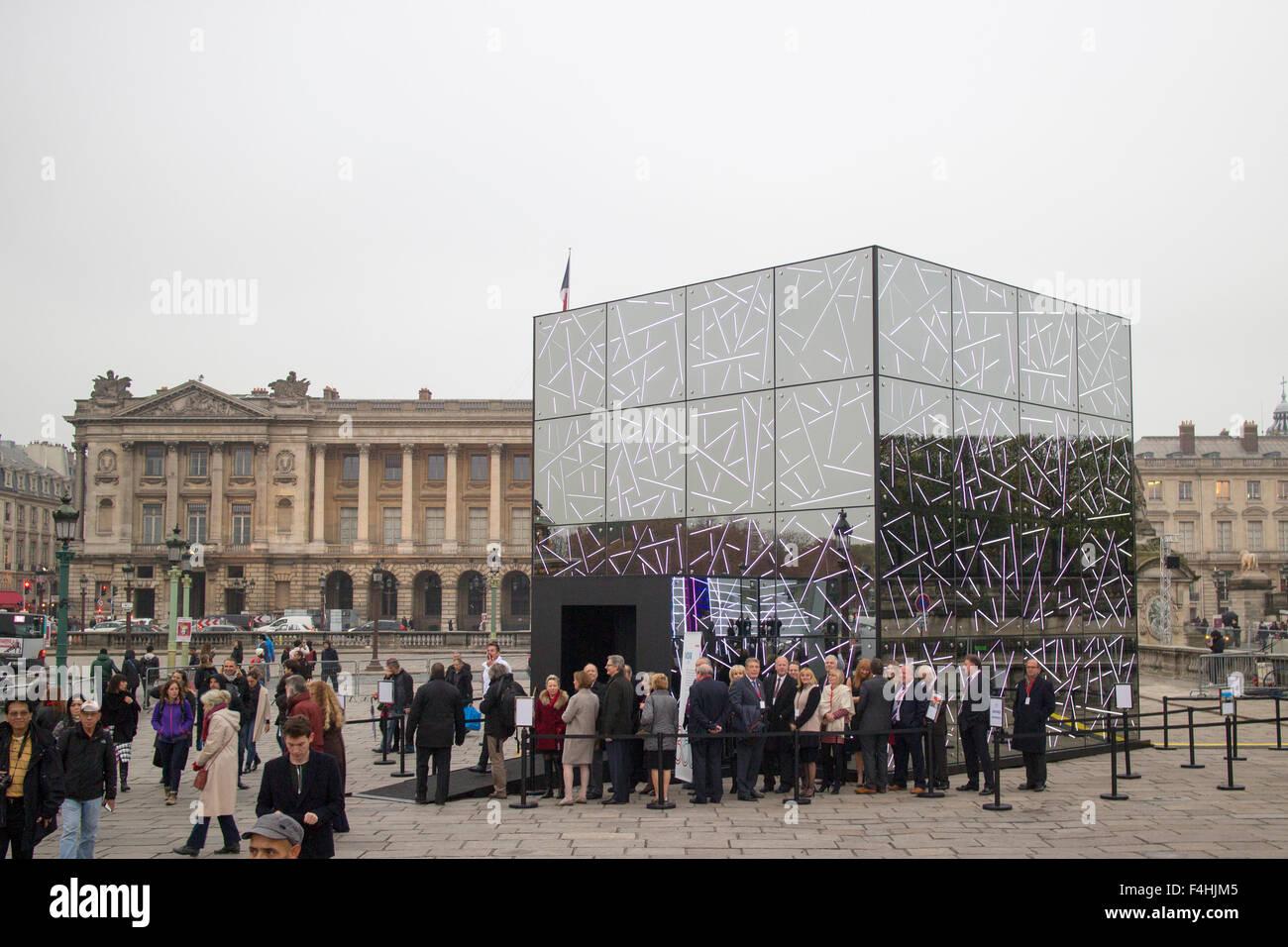 Saint Gobain celebrating its 350th anniversary four pavilions, called Future Sensations at Place de la Concorde - Stock Image