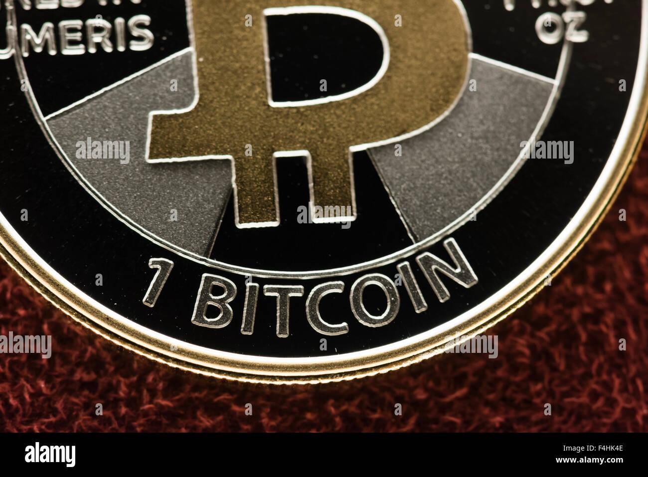 Physical Casascius silver Bitcoin coin (1 BTC). - Stock Image