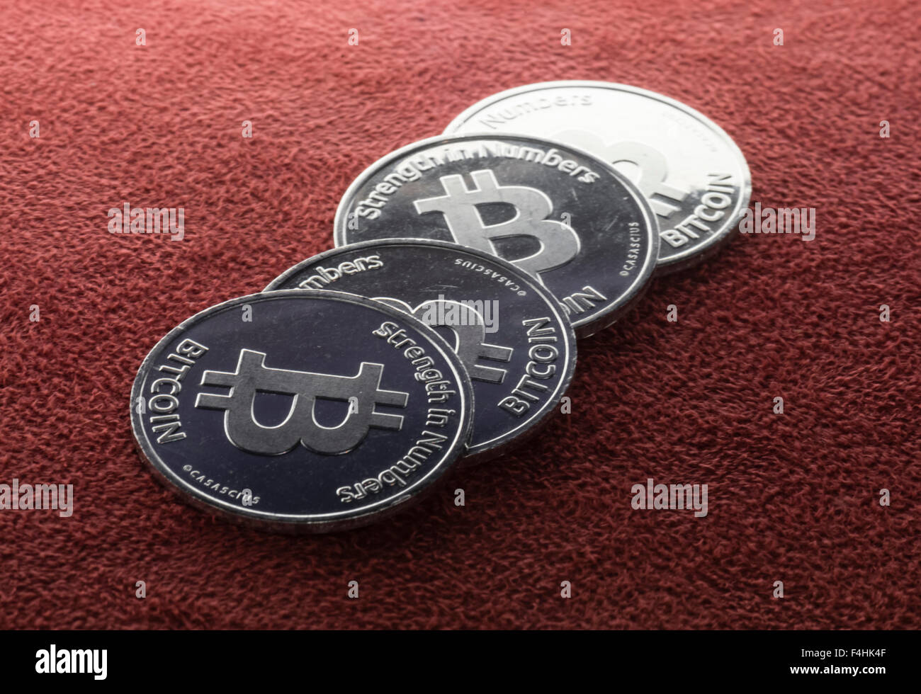 Stack of physical Bitcoin coins. - Stock Image