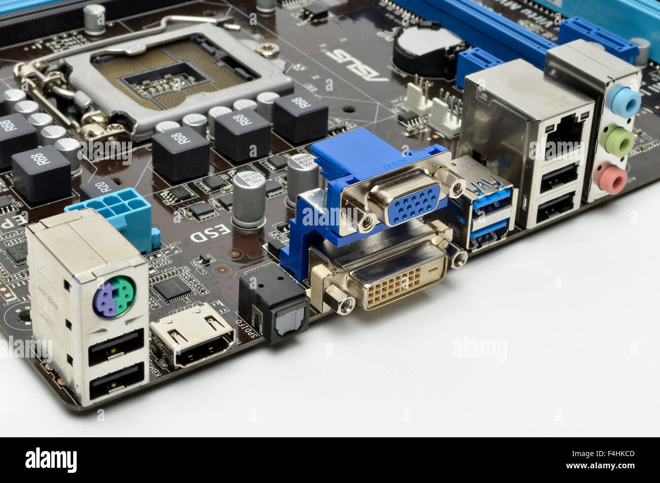 I/O ports on the rear of an ASUS motherboard, including keyboard