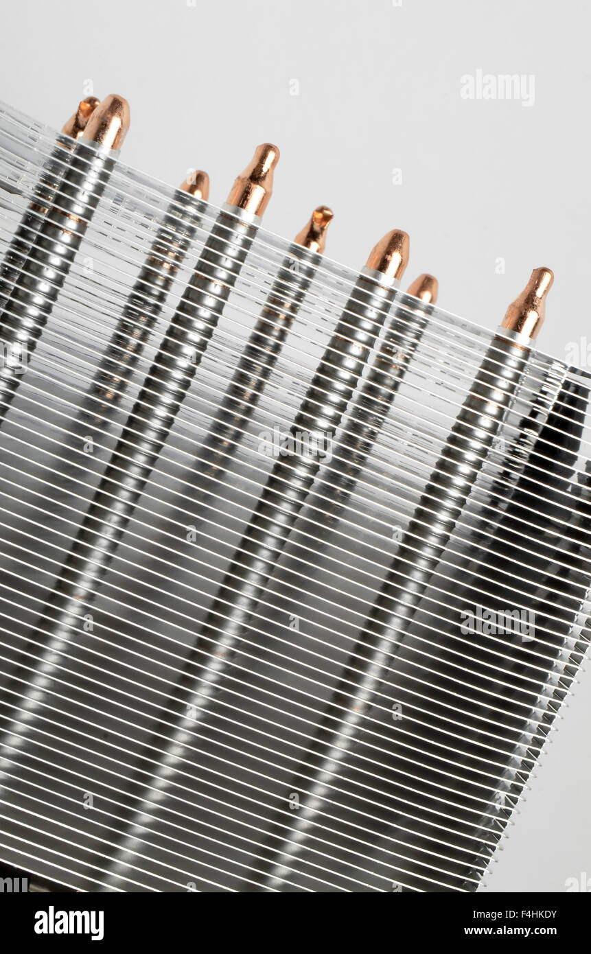 Copper heat pipes and heatsink cooling fins on an Arctic Cooling Freezer Xtreme CPU cooler. - Stock Image