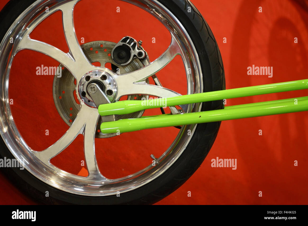 Color close up of a motorcycle wheel. Stock Photo