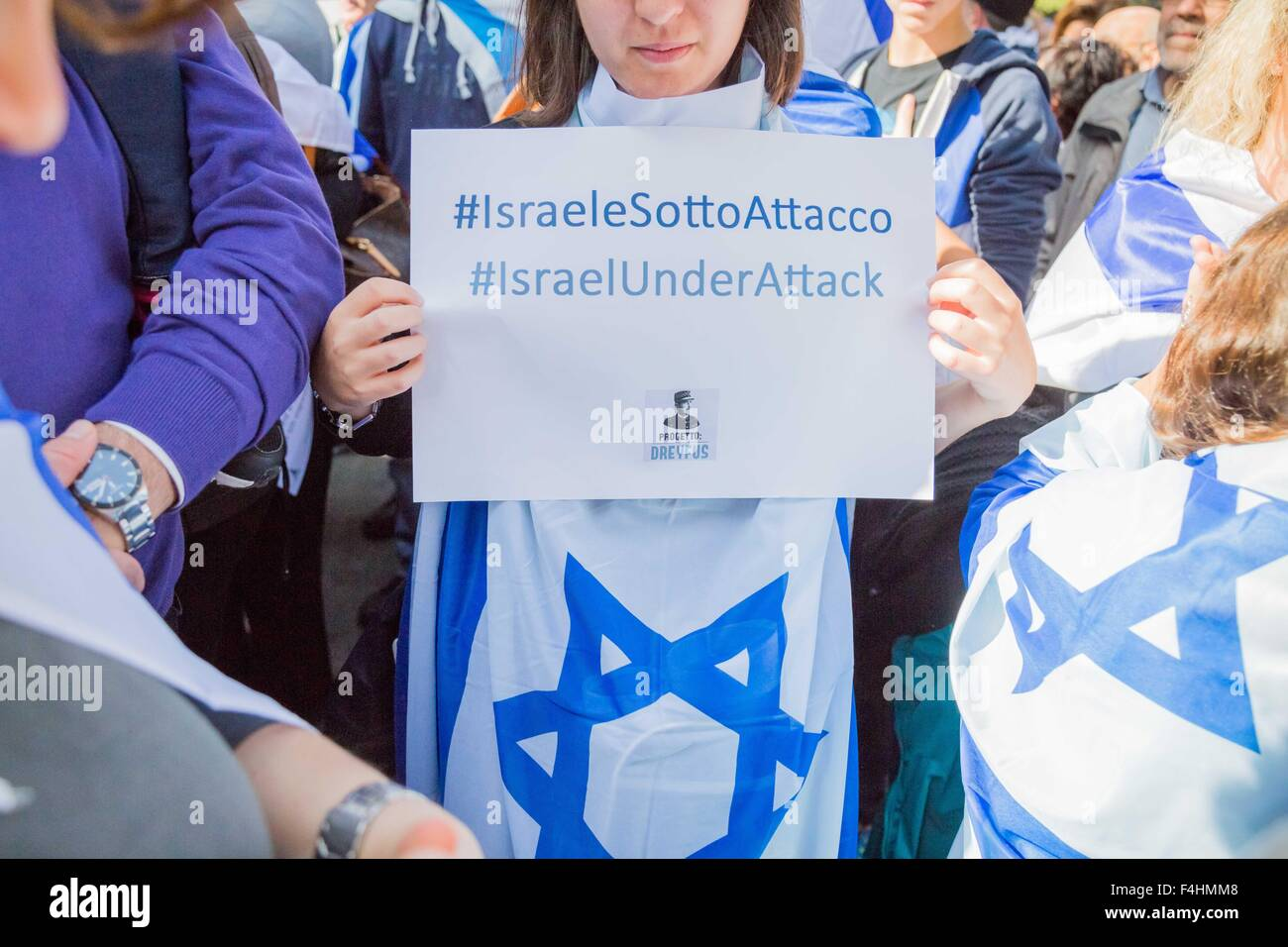 Rome, Italy. 18th Oct, 2015. A Jewish shows placard during a protest against the media and the attacks on Israelis. - Stock Image