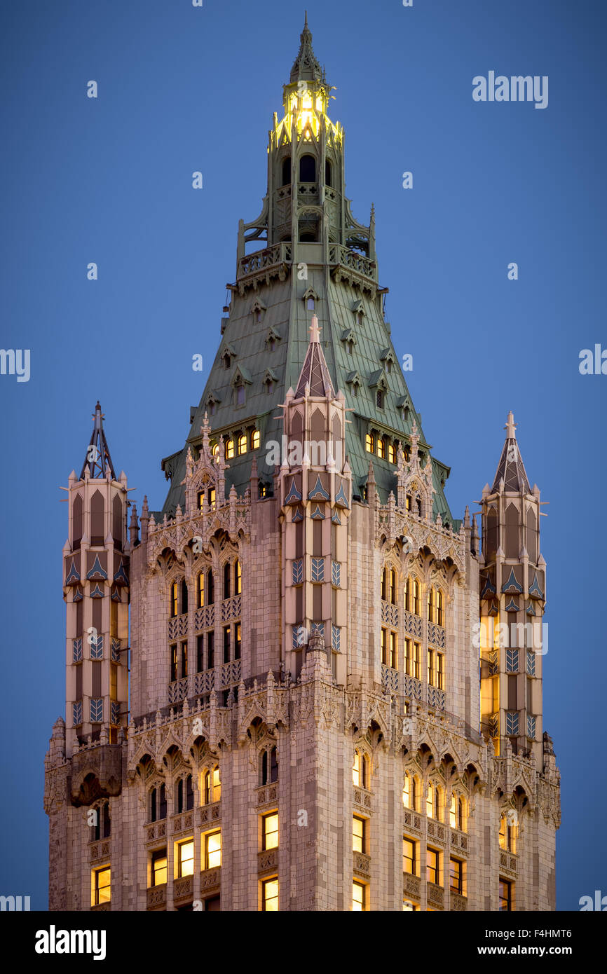 Close up of the Spire of the Neo-Gothic Woolworth Building at Dusk, Lower Manhattan, Financial District, Manhattan, - Stock Image