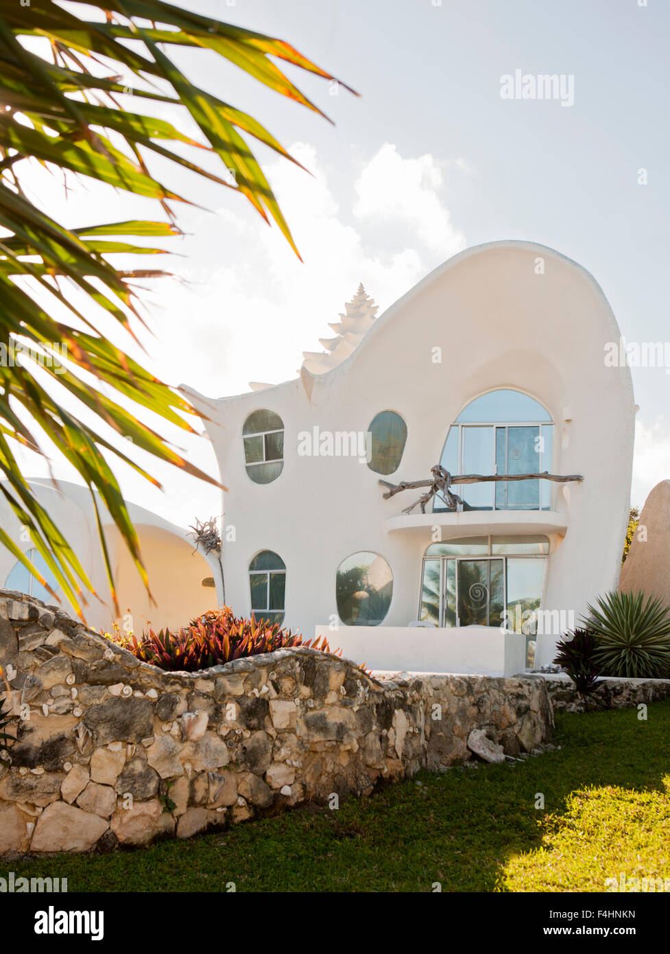 Exterior Of The Conch Shell House Isla Mujeres Quintana Roo Stock - Conch-shell-house