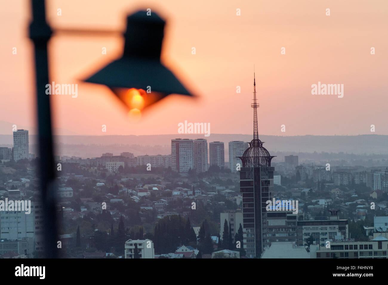 Sunrise over Tbilisi, the capital of Georgia. - Stock Image