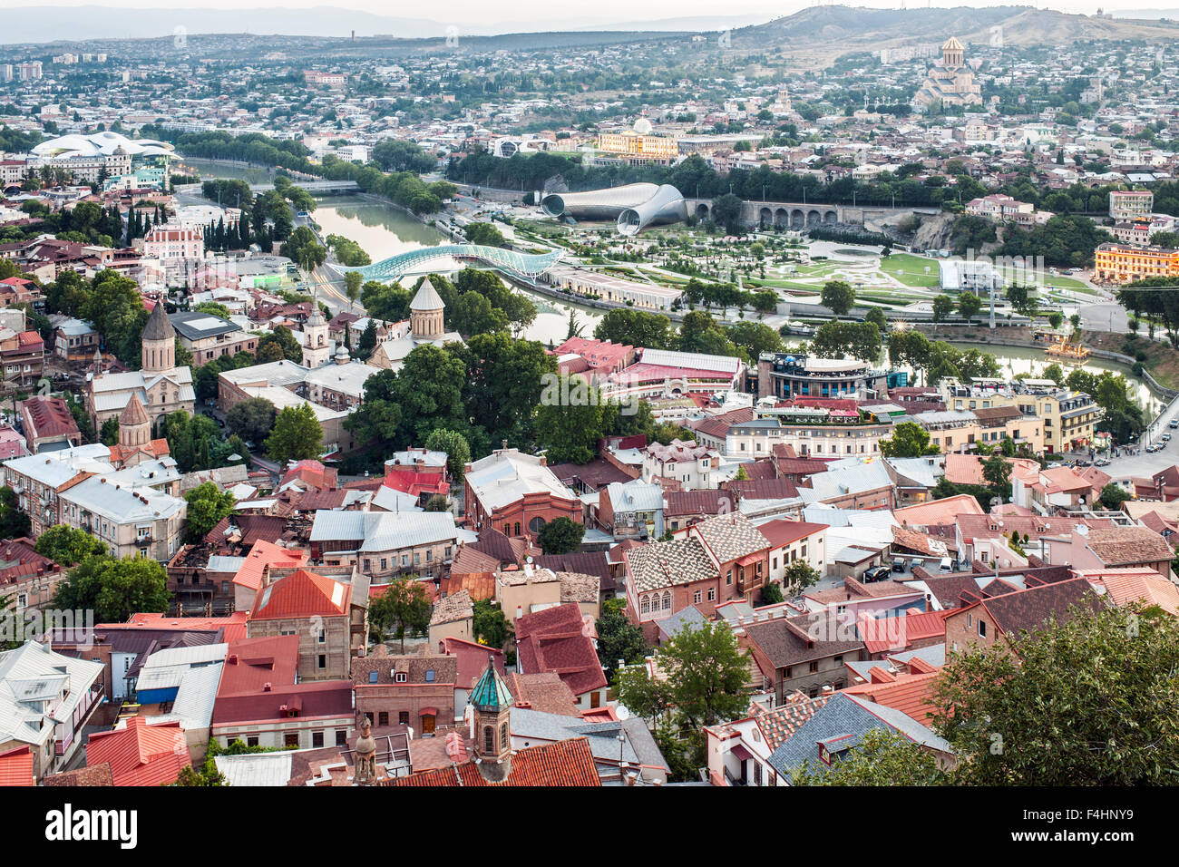 Dawn view over the old town and Mtkvari River in Tbilisi, the capital of Georgia. Stock Photo