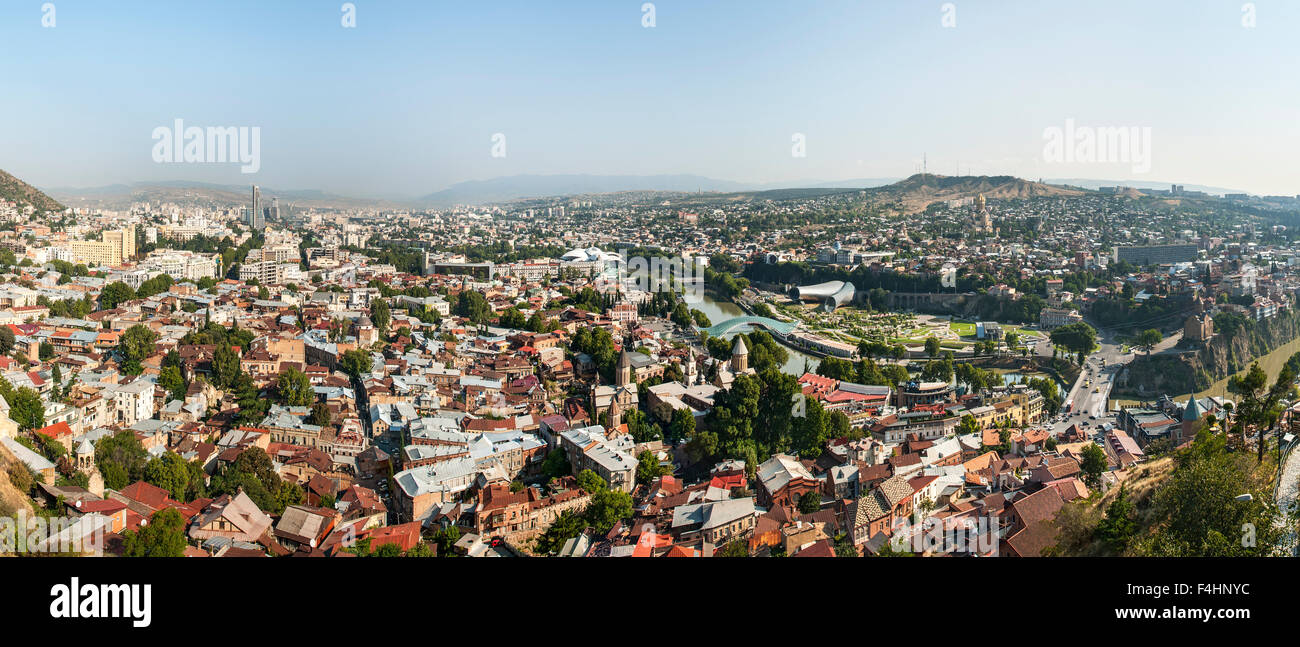 Panoramic view across Tbilisi, the capital of Georgia. Stock Photo