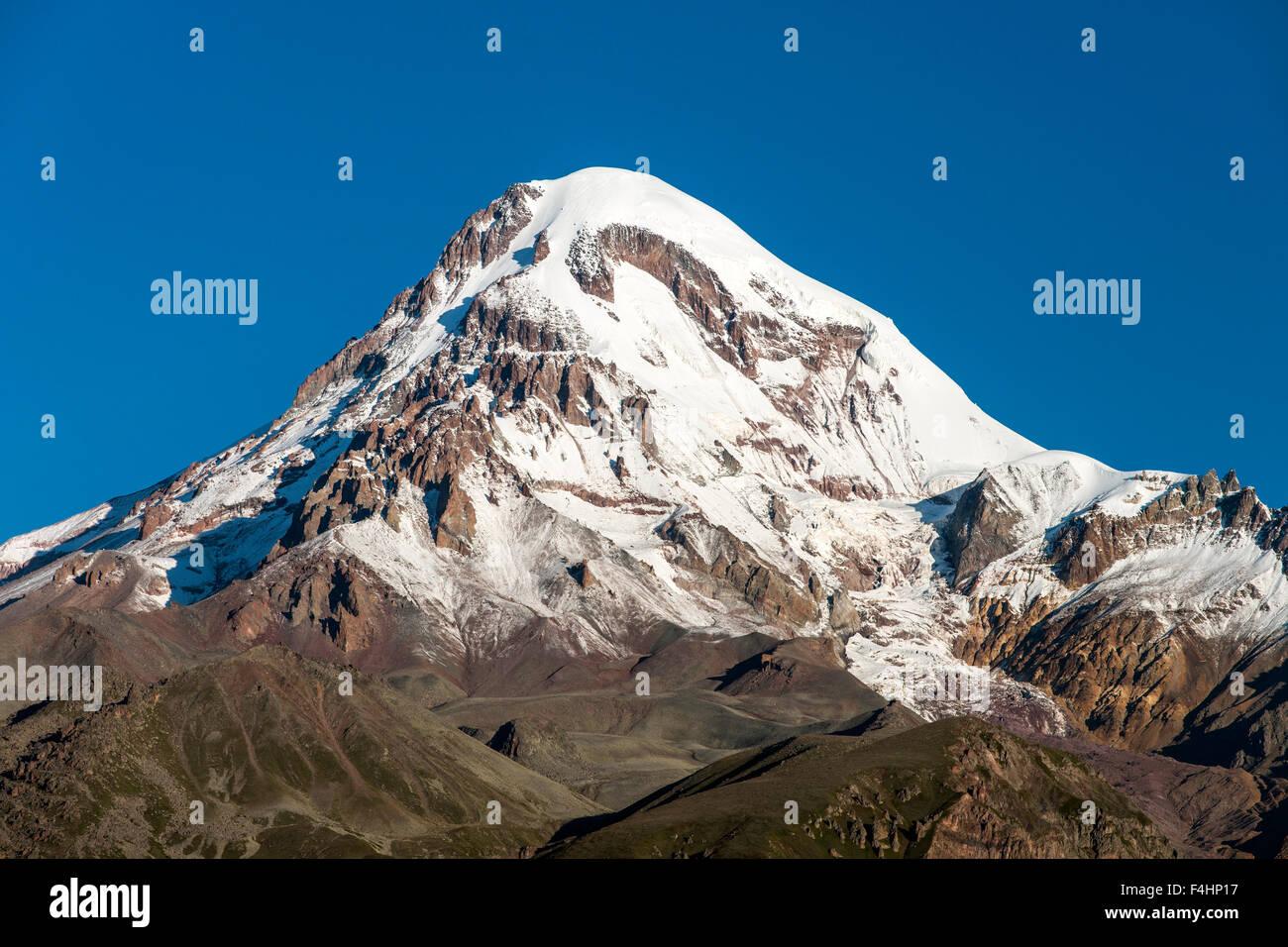 Mount Kazbek (5047m) in the Caucasus Mountains of northern Georgia. Stock Photo