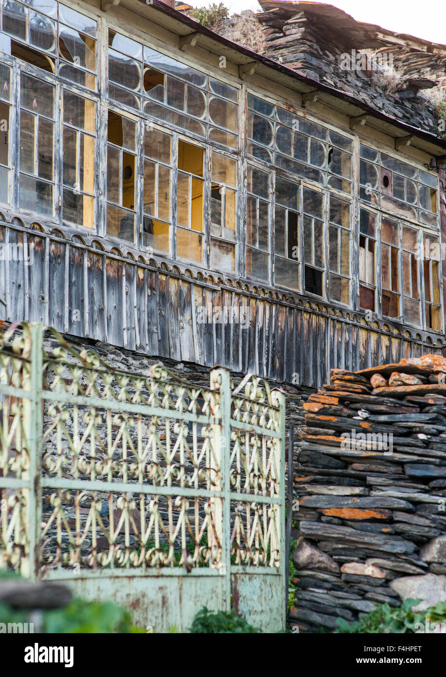 Detail of a house exterior in Ushguli village, Svaneti district, Caucasus mountains, northwestern Georgia. - Stock Image