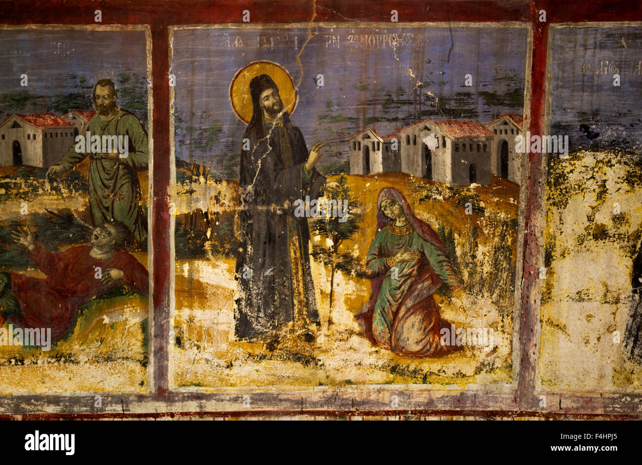 Greek Orthodox iconography of the 19th century, in the monastery of Zavorda (Saint Nicanor), in Greece. - Stock Image