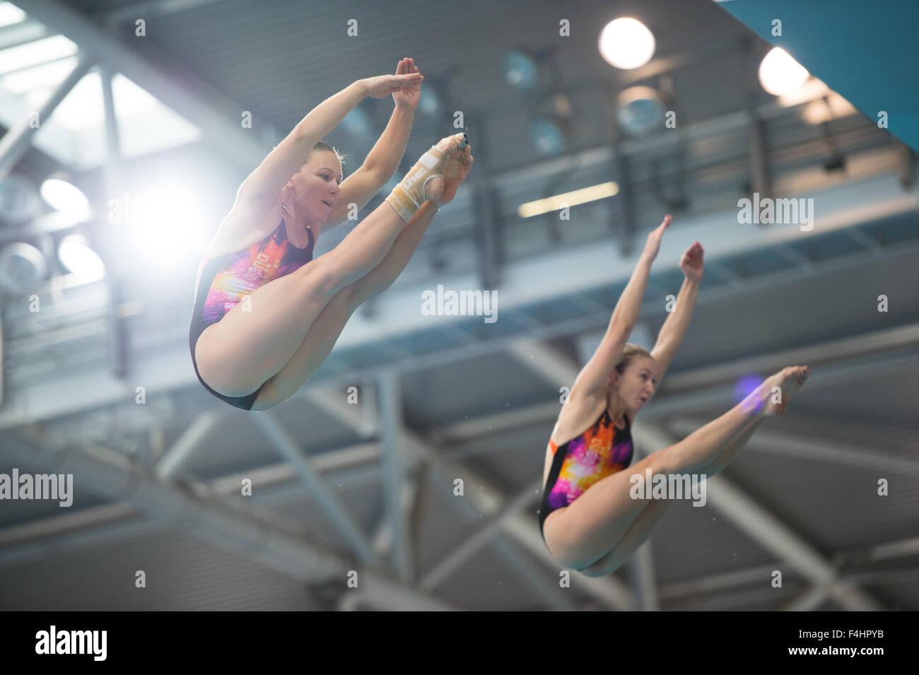 (L-R) Viktoriya Kesar & Anastasiia Nedobiga (UKR) in the Synchronized 3m Springboard Women competition of the - Stock Image