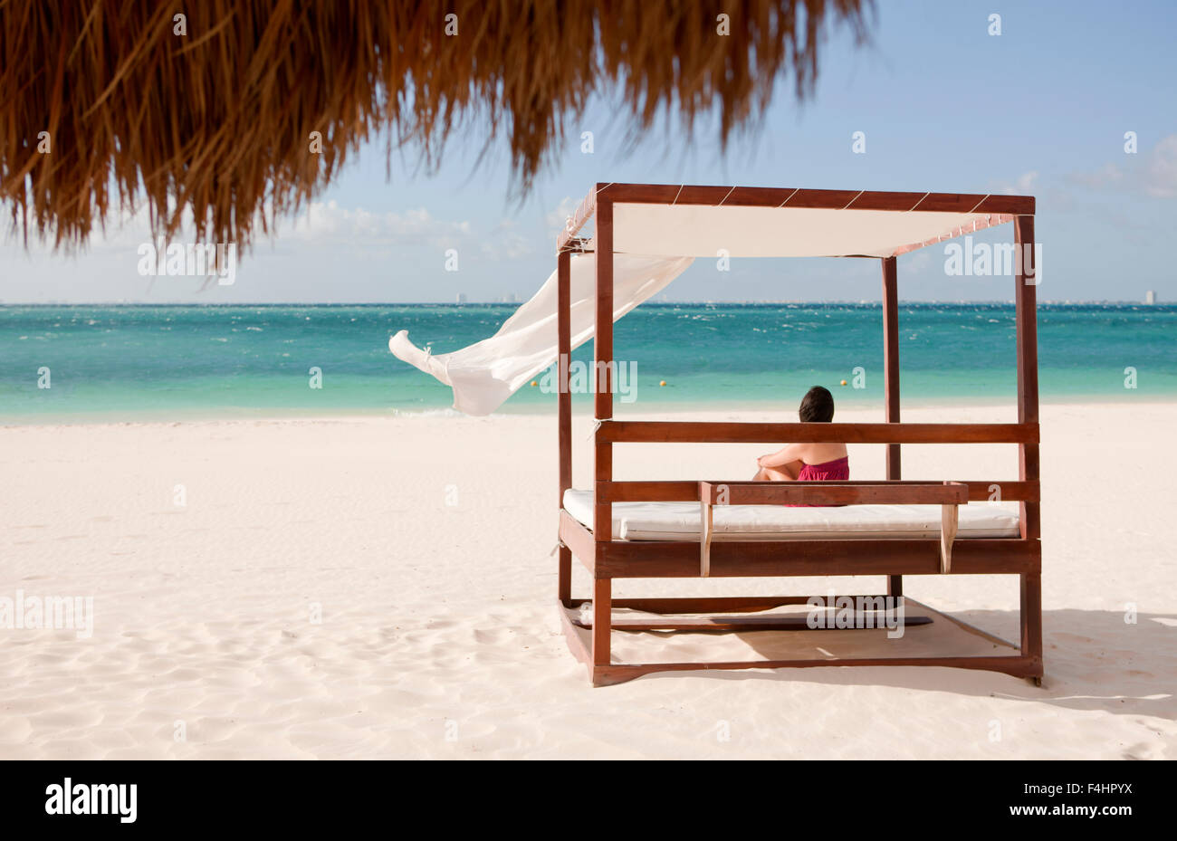 The main beach on Isla Mujeres, an island off Cancun, Quintana Roo, Mexico. - Stock Image