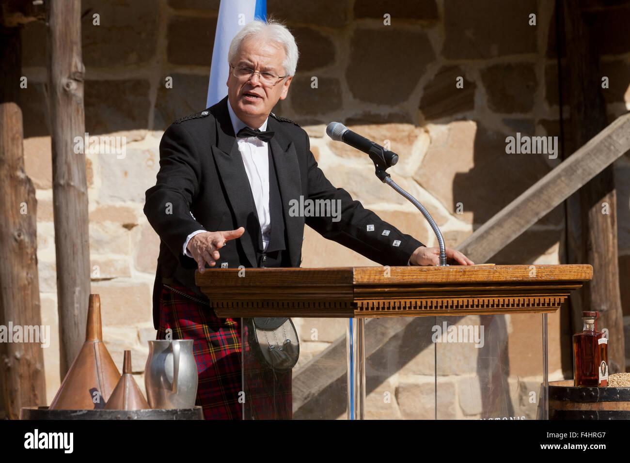 Andy Cant, whisky distiller, speaking at  George Washington's Distillery Single Malt Whisky - Alexandria, Virginia - Stock Image