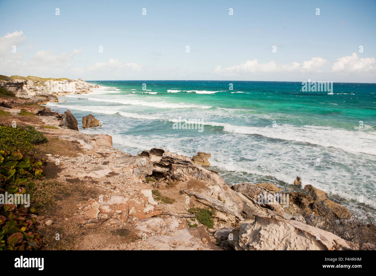 Views of the Caribbean Coast along what tourists call Panoramic Drive, Isla Mujeres, Quintana Roo, Mexico. - Stock Image