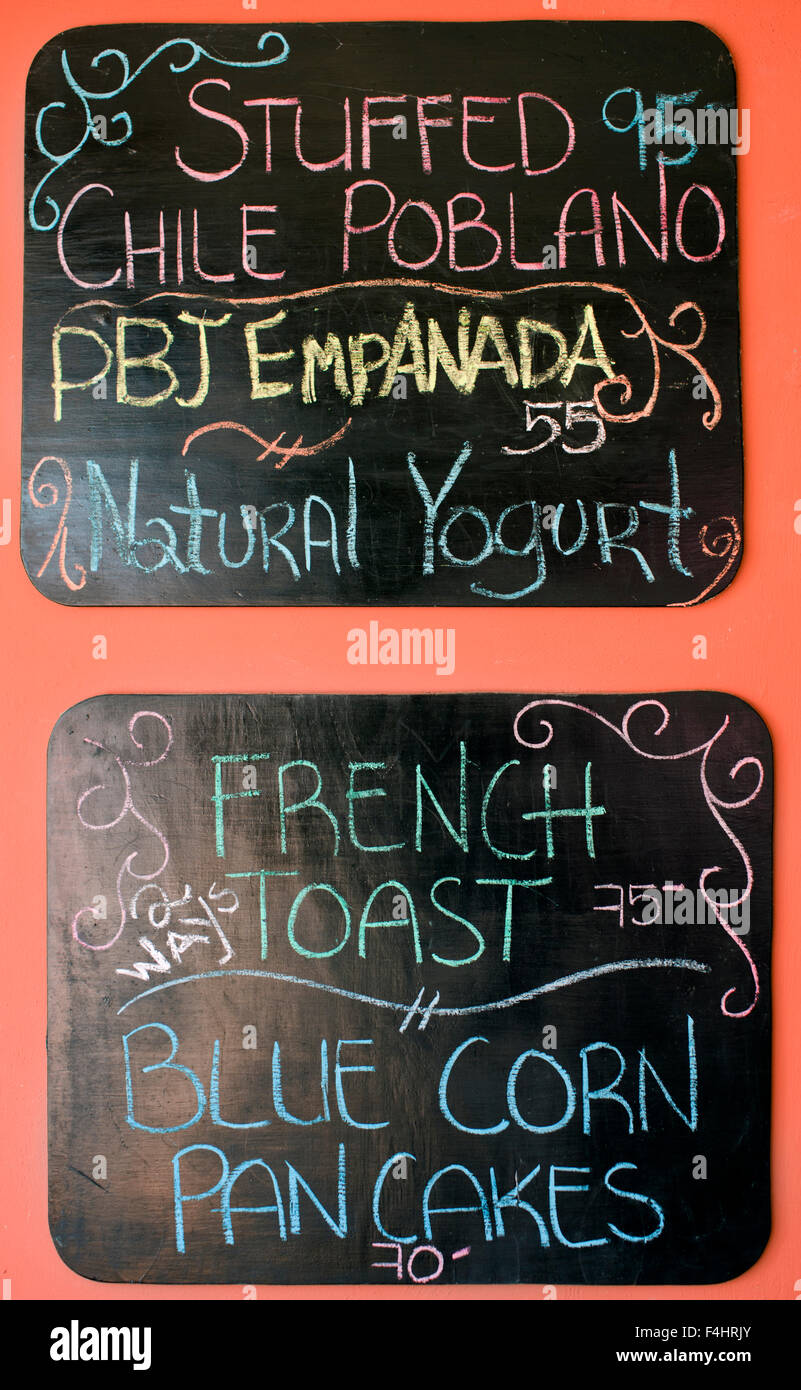 The menu board at Mango Cafe, Isla Mujeres, Quintana Roo, Mexico. Stock Photo