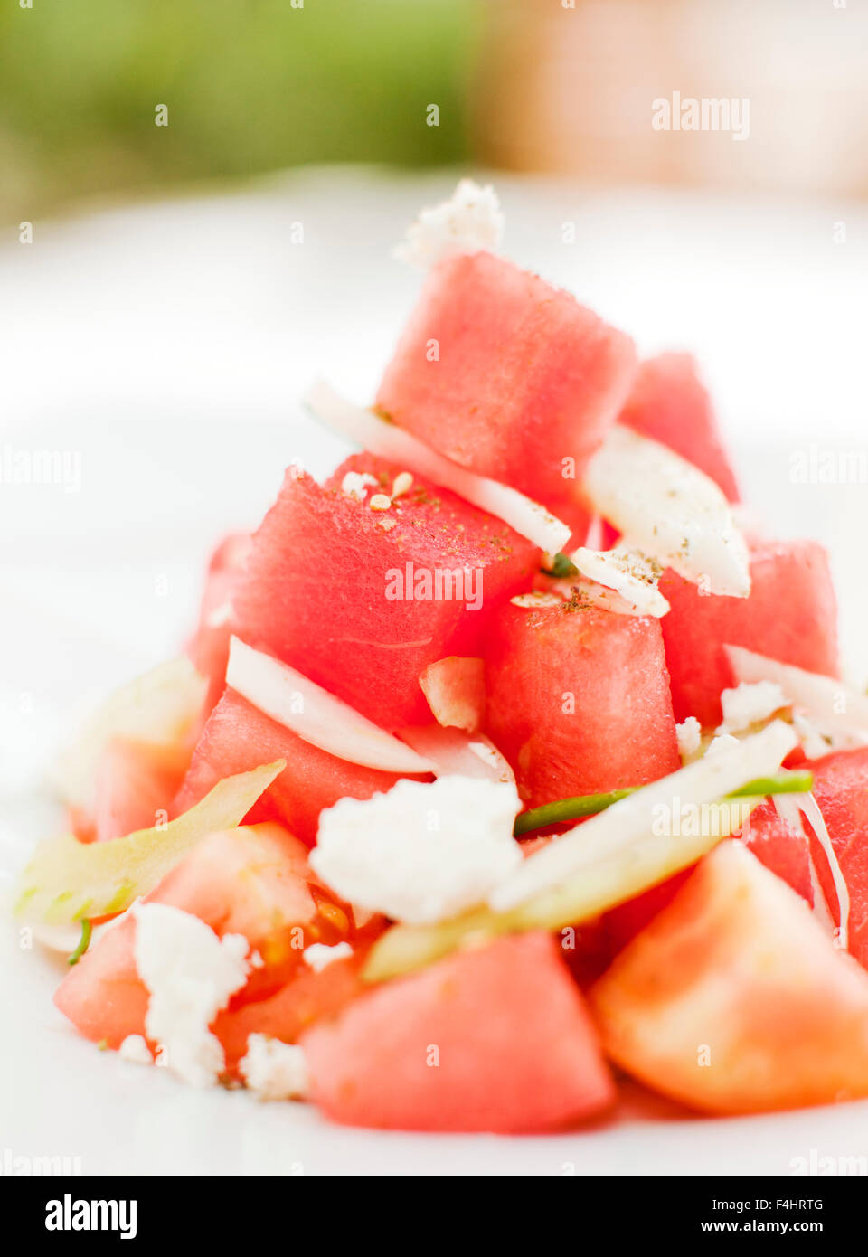 Watermelon and Feta cheese salad. Cancun, Quintana Roo, Mexico.. - Stock Image