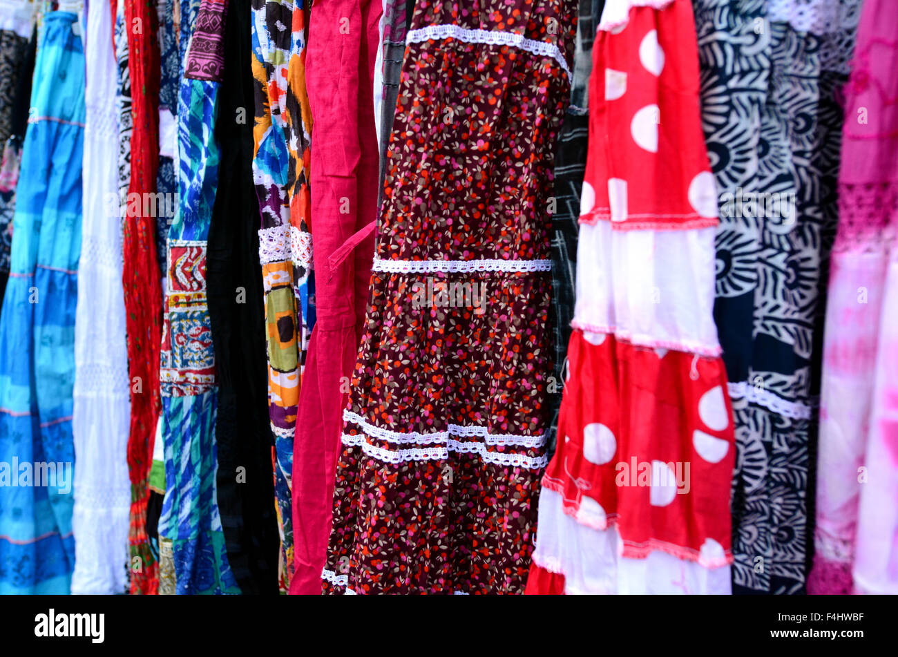 Indian women dress for sale in the market. Backgrounds and textures - Stock Image