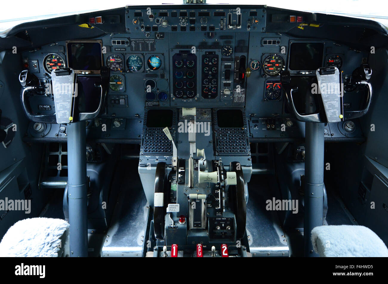 AUCKLAND - OCT 18 2015:Boeing 737 cockpit.It's the best-selling jet commercial airliner, continuously manufactured - Stock Image