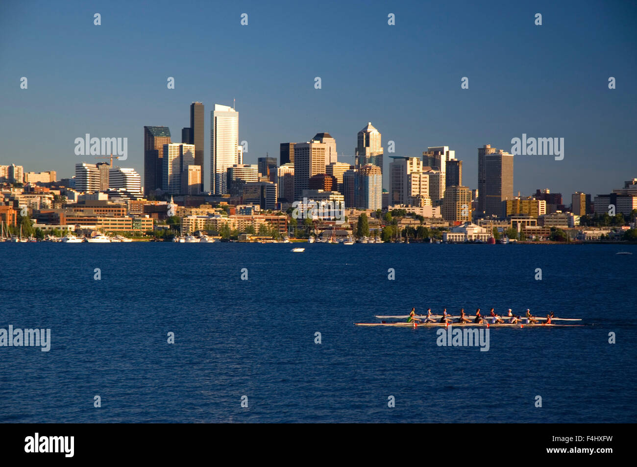 Scull on Lake Union with downtown, Gas Works Park, Seattle, Washington - Stock Image