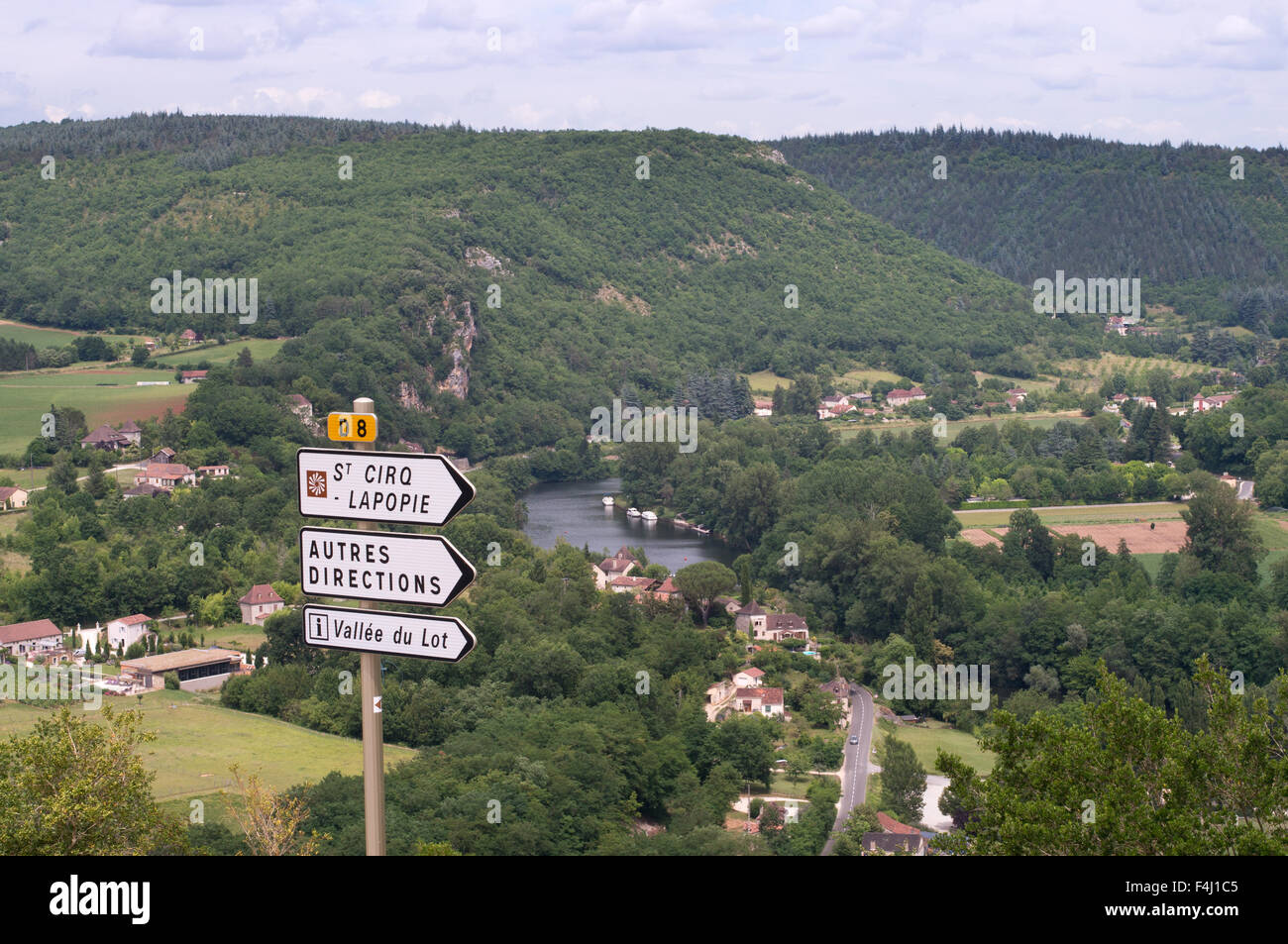 The Lot valley seen from above the village of Saint-Cirq-Lapopie,  Midi-Pyrénées , France, Europe - Stock Image