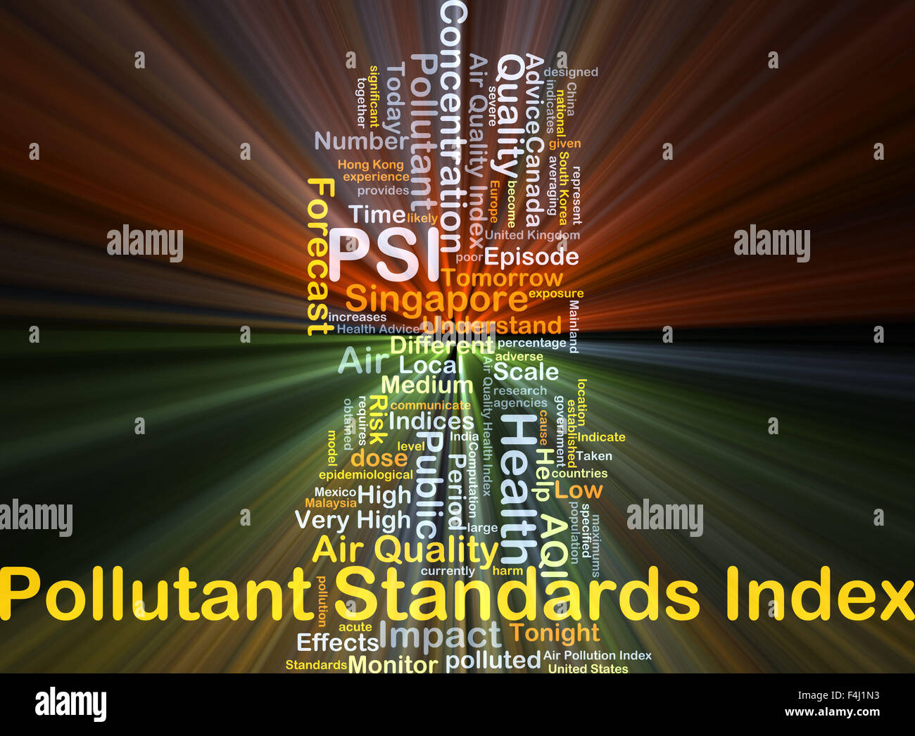 Background concept wordcloud illustration of pollutant standards index PSI glowing light - Stock Image