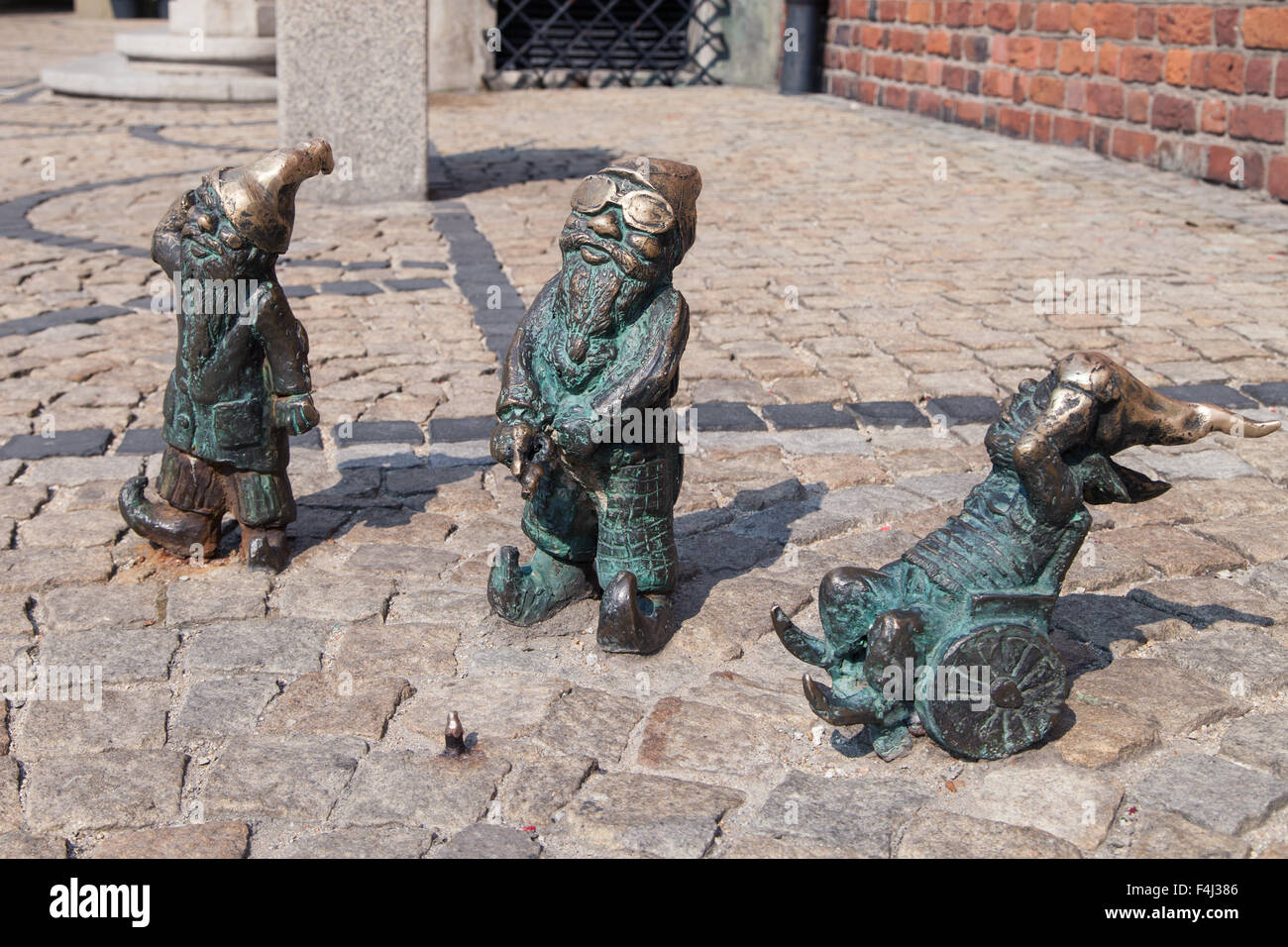 Disabled dwarves on the Market Square of Wroclaw, Poland. - Stock Image
