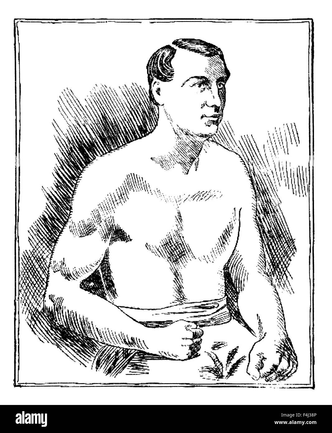 Vintage newspaper portrait of English bare-knuckle boxer Tom Sayers (1826 - 1865). Sayers, born in Brighton, Sussex, - Stock Image