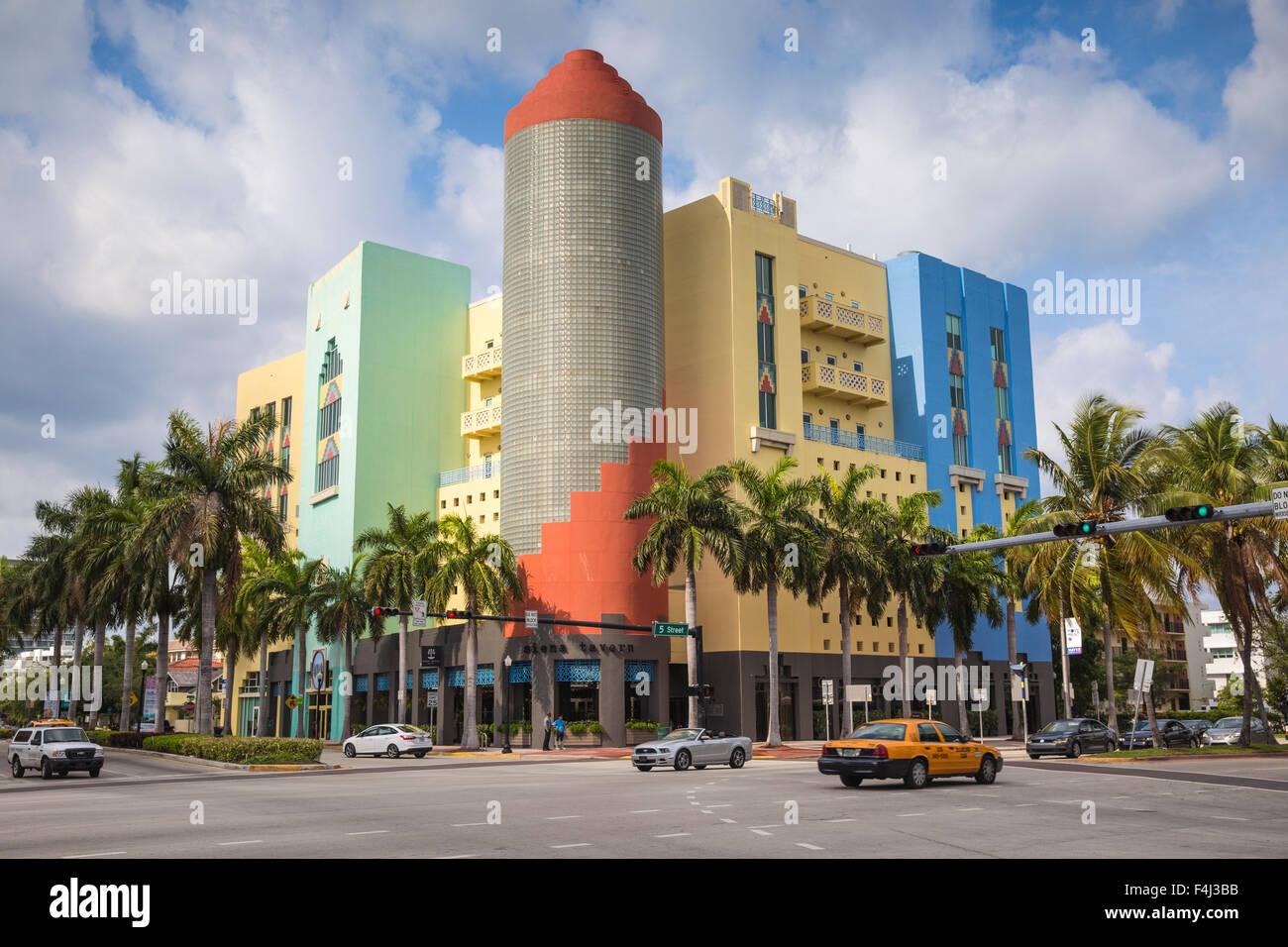 Buildings on Washington Avenue, South Beach, Miami Beach, Miami, Florida, United States of America, North America - Stock Image