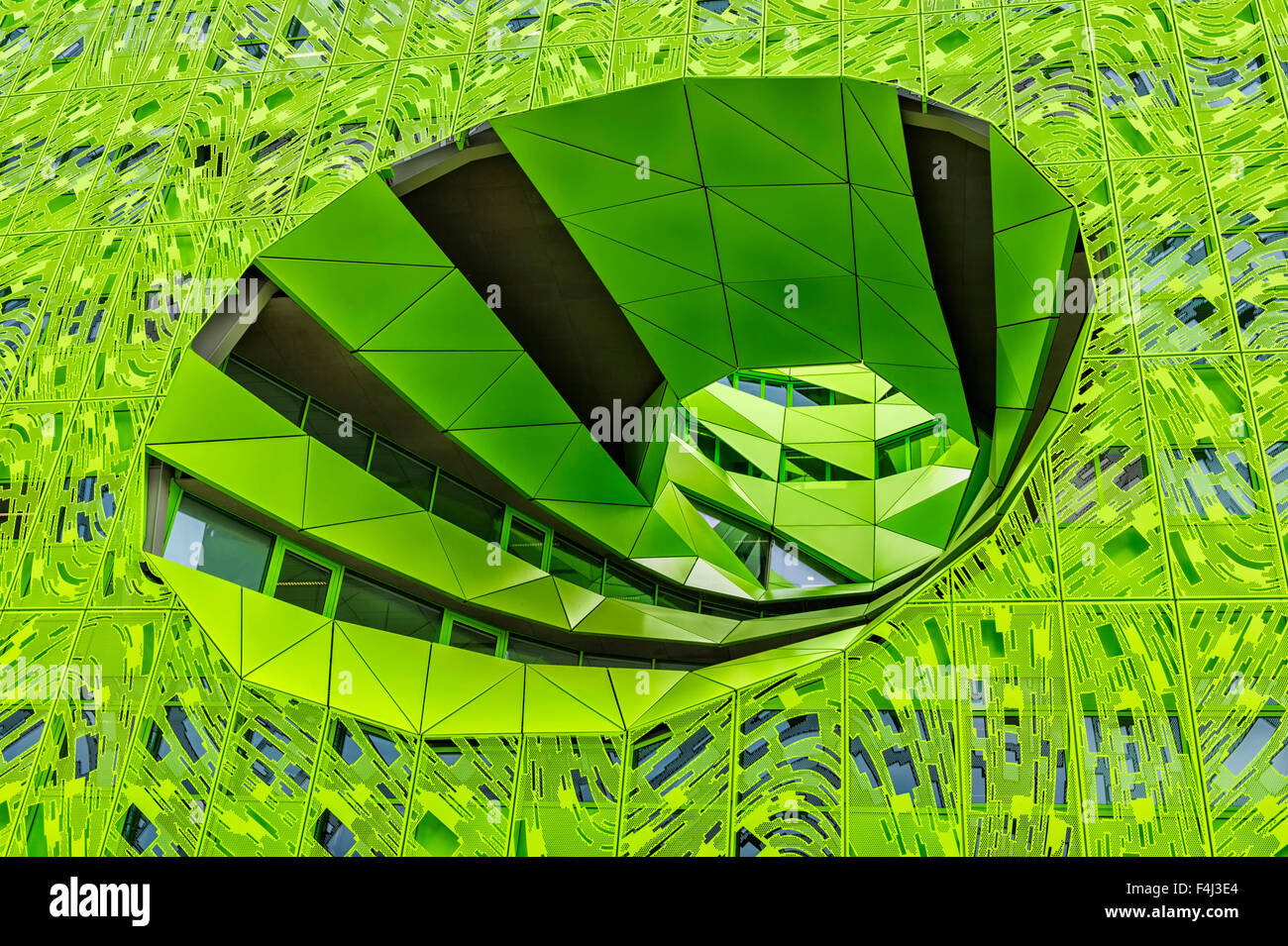 Green Cube, Headquarters of television channel Euronews, La Confluence district, Lyon, Rhone, France, Europe - Stock Image