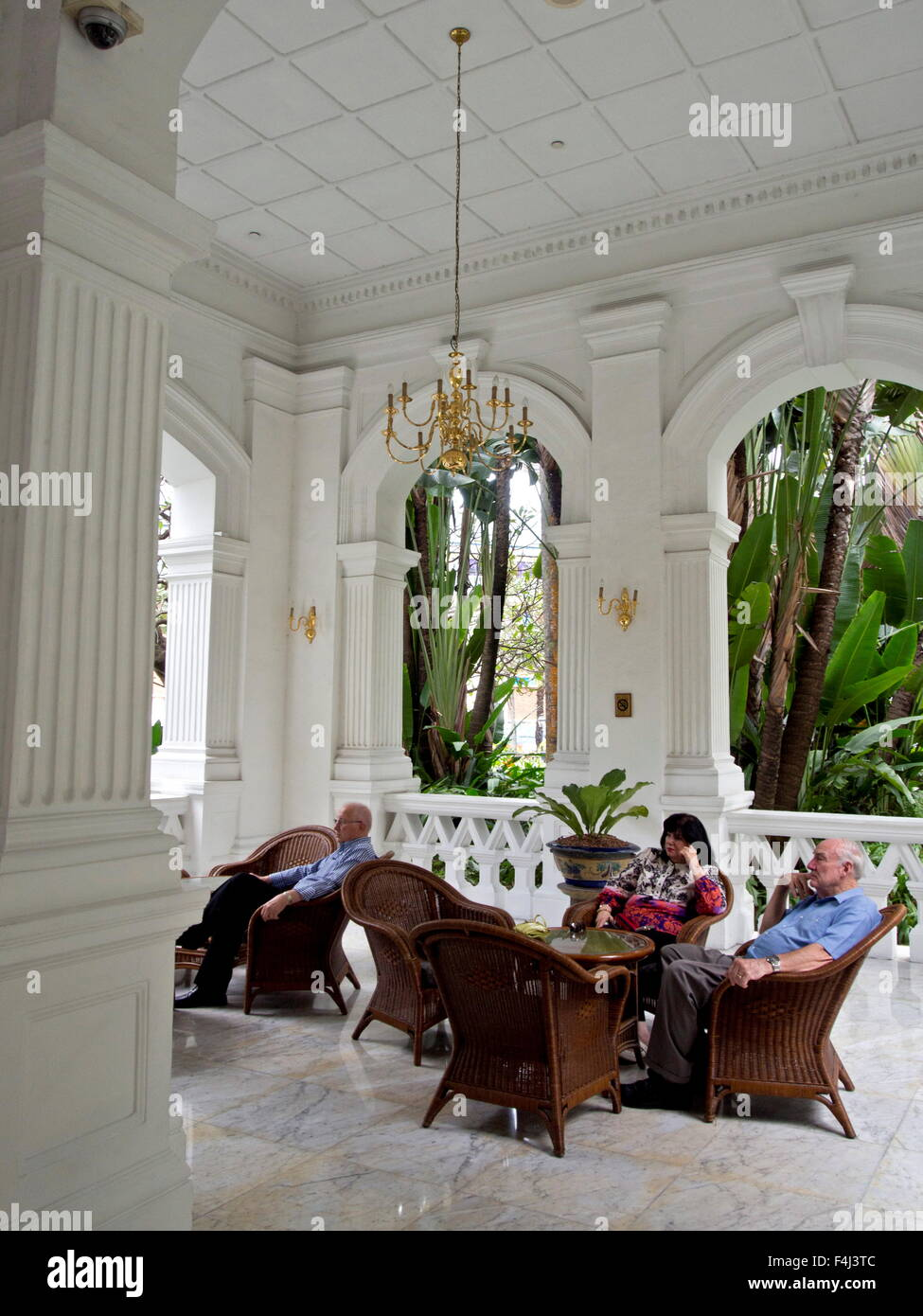 The world famous Raffles Hotel in Singapore, Southeast Asia, Asia - Stock Image