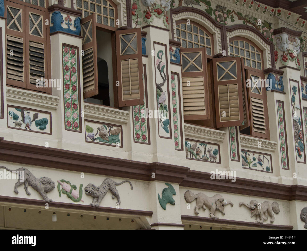 Lorong Bachok shophouse and cultural association with classic Chinese tales, Geylang area of Singapore - Stock Image
