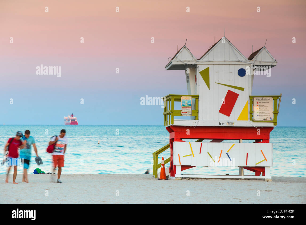 Life guard beach hut, South Beach, Miami Beach, Florida, United States of America, North America - Stock Image