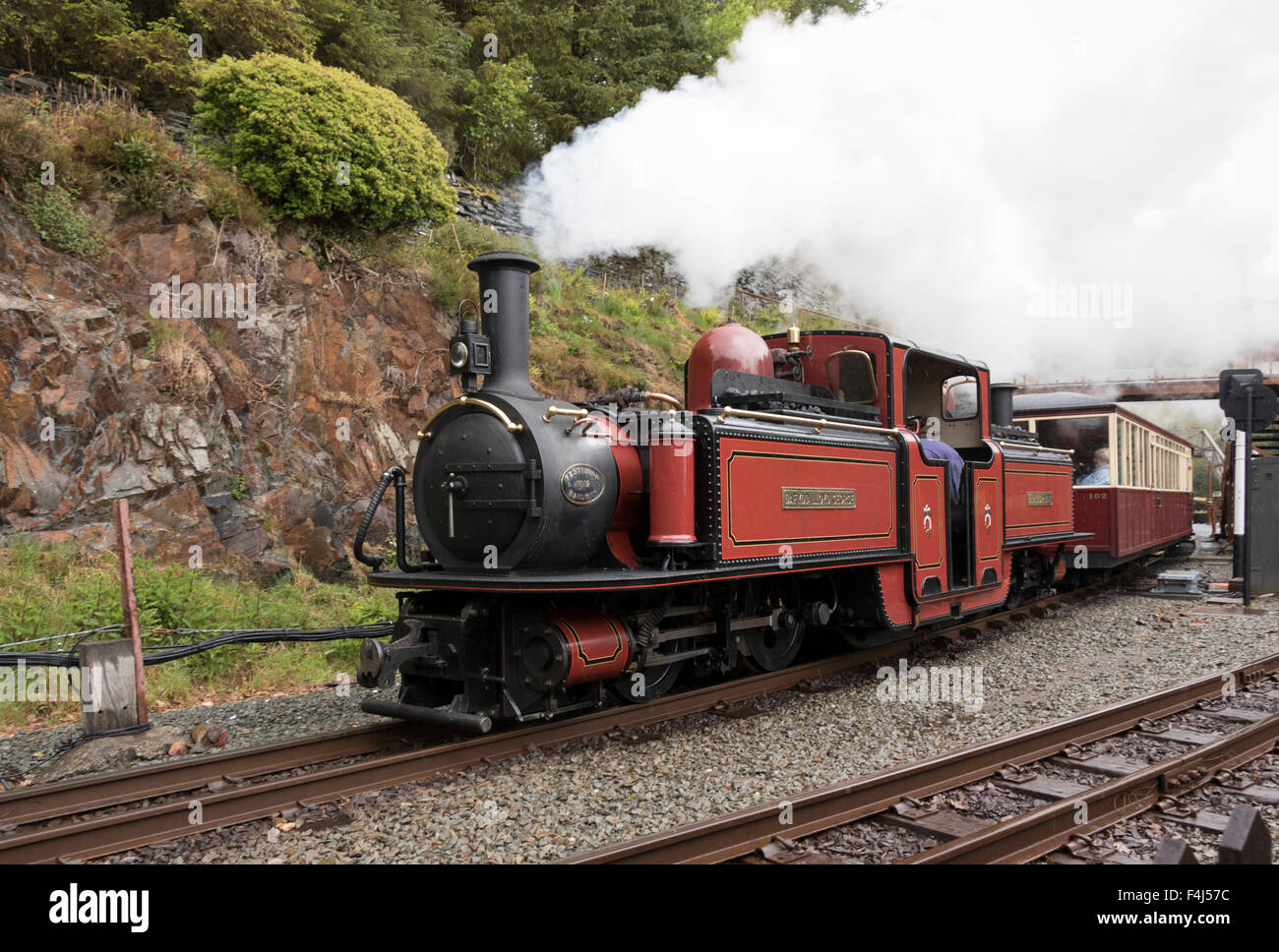Steam engine Dafydd Lloyd George at Tan-y-Bwlch Station on the Ffestiniog Railway, Wales, United Kingdom, Europe - Stock Image