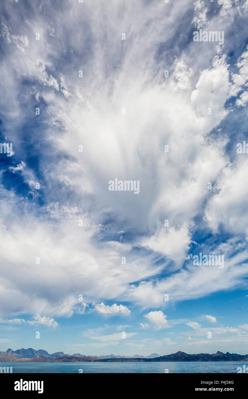 Intense cloud build up over Isla Santa Catalina, Baja California Sur, Mexico, North America - Stock Image