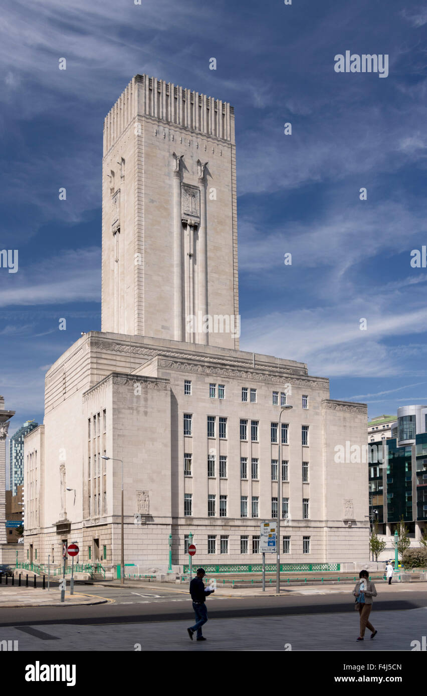 The Art Deco Mersey Tunnel ventilation tower and offices, Pierhead, Liverpool, Merseyside, England, United Kingdom, - Stock Image