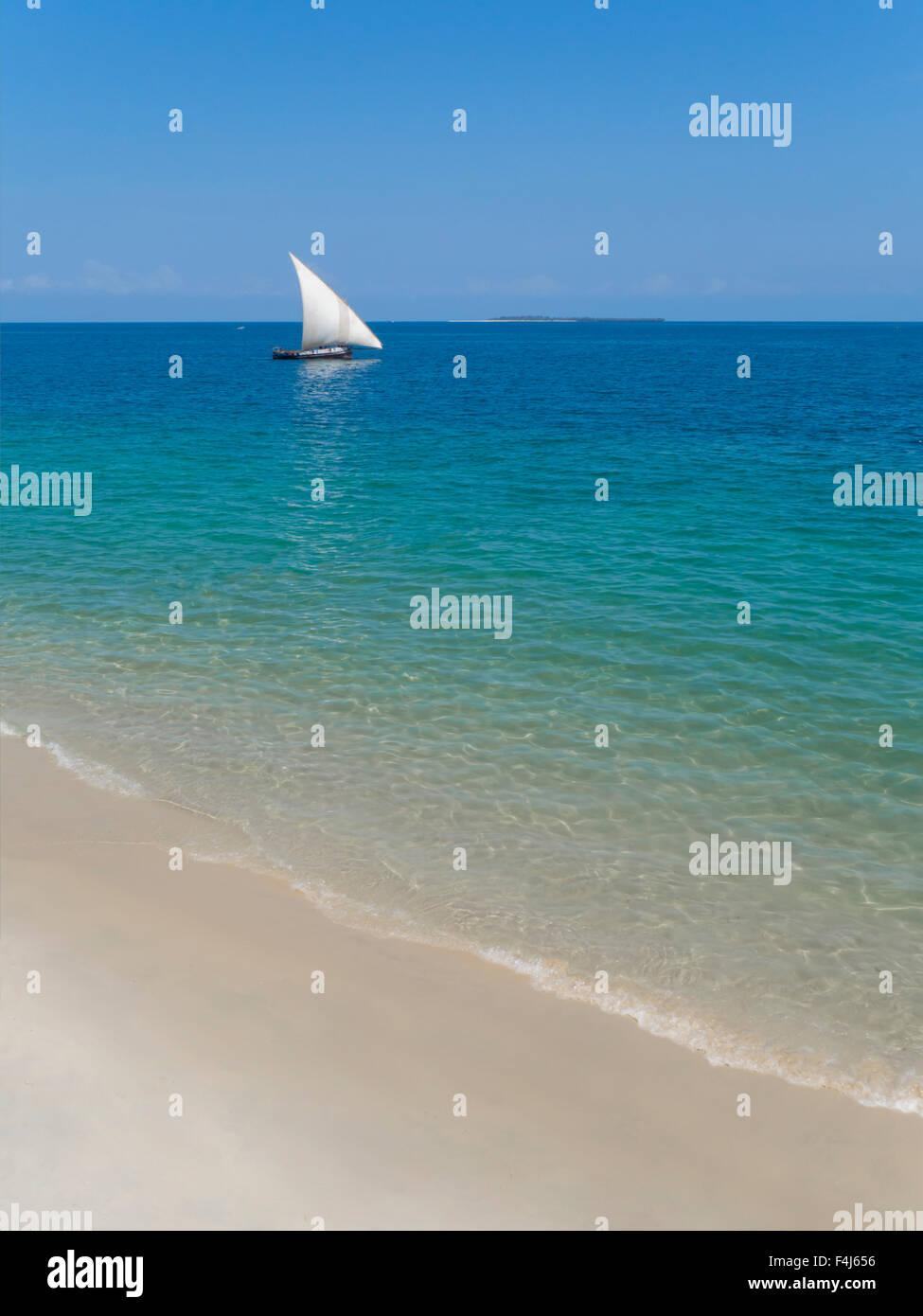 Beach and Indian Ocean dhow, Zanzibar, Tanzania, East Africa, Africa - Stock Image