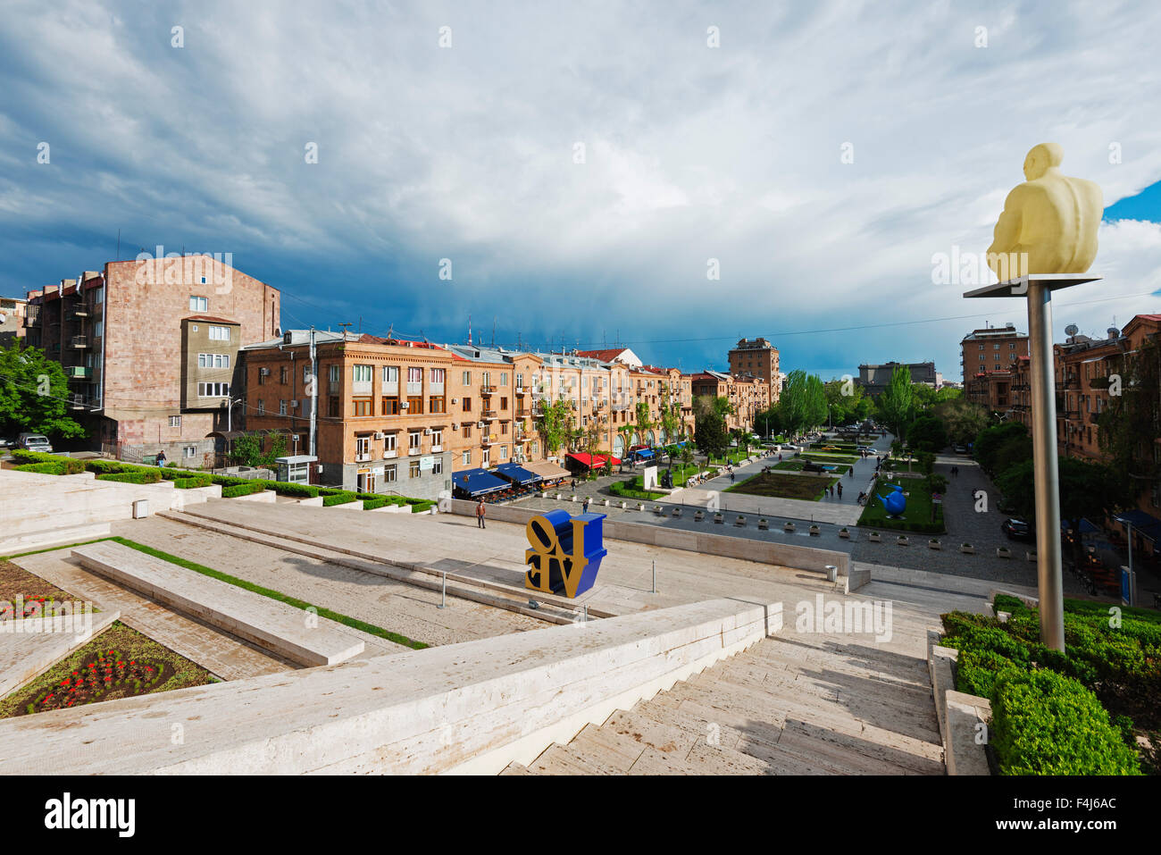 Art exhibitions at the Cascade, Yerevan, Armenia, Caucasus region, Central Asia, Asia - Stock Image