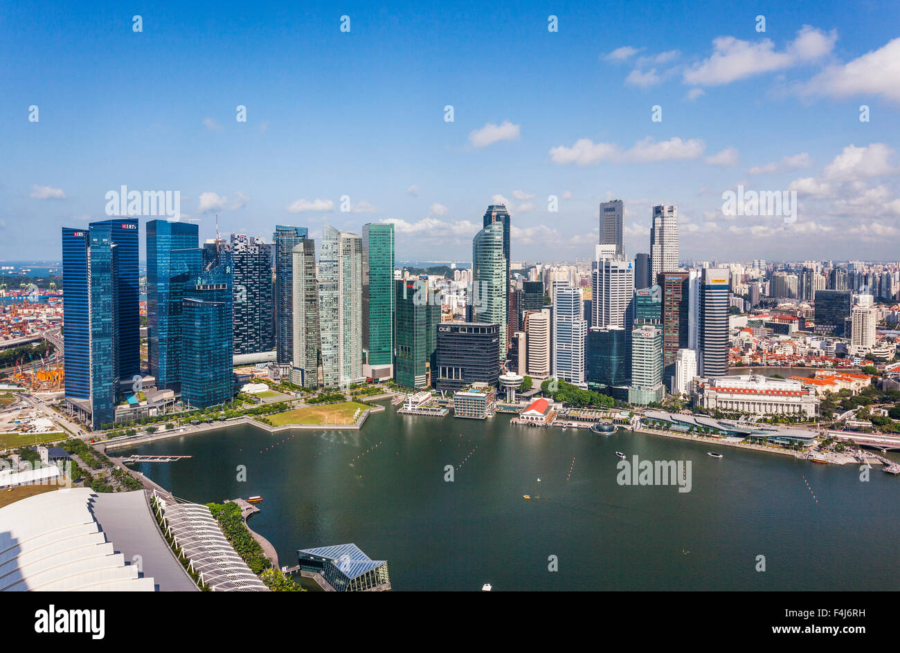 Singapore, panoramic view of Marina Bay and the Singapore CBD from the skypark of the Marina Bay Sands Hotel - Stock Image