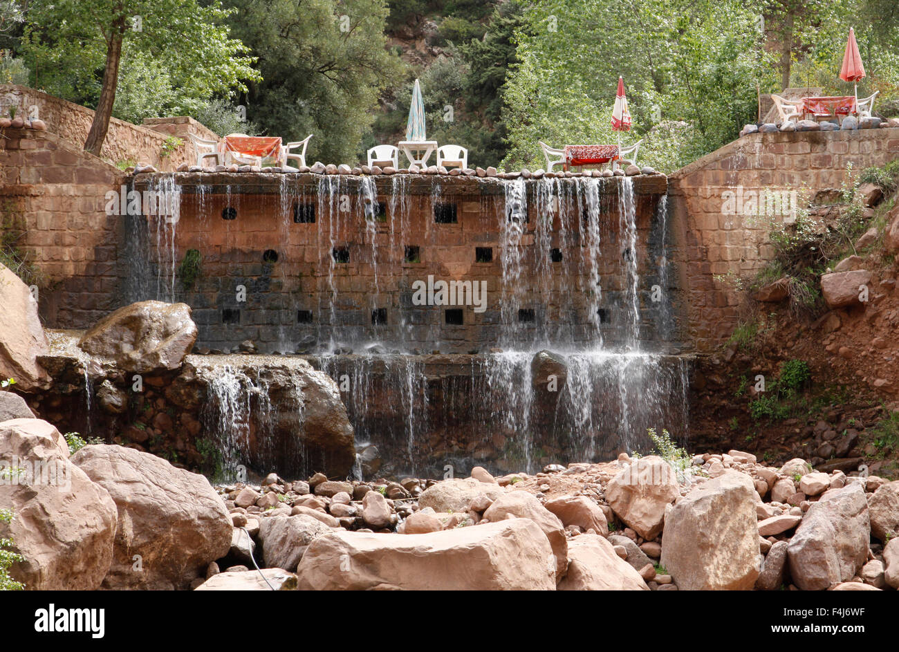 Cafe at the top of a small waterfall in the Ourika Valley near Setti Fatma, around 50 km south of Marrakesh, Morocco - Stock Image