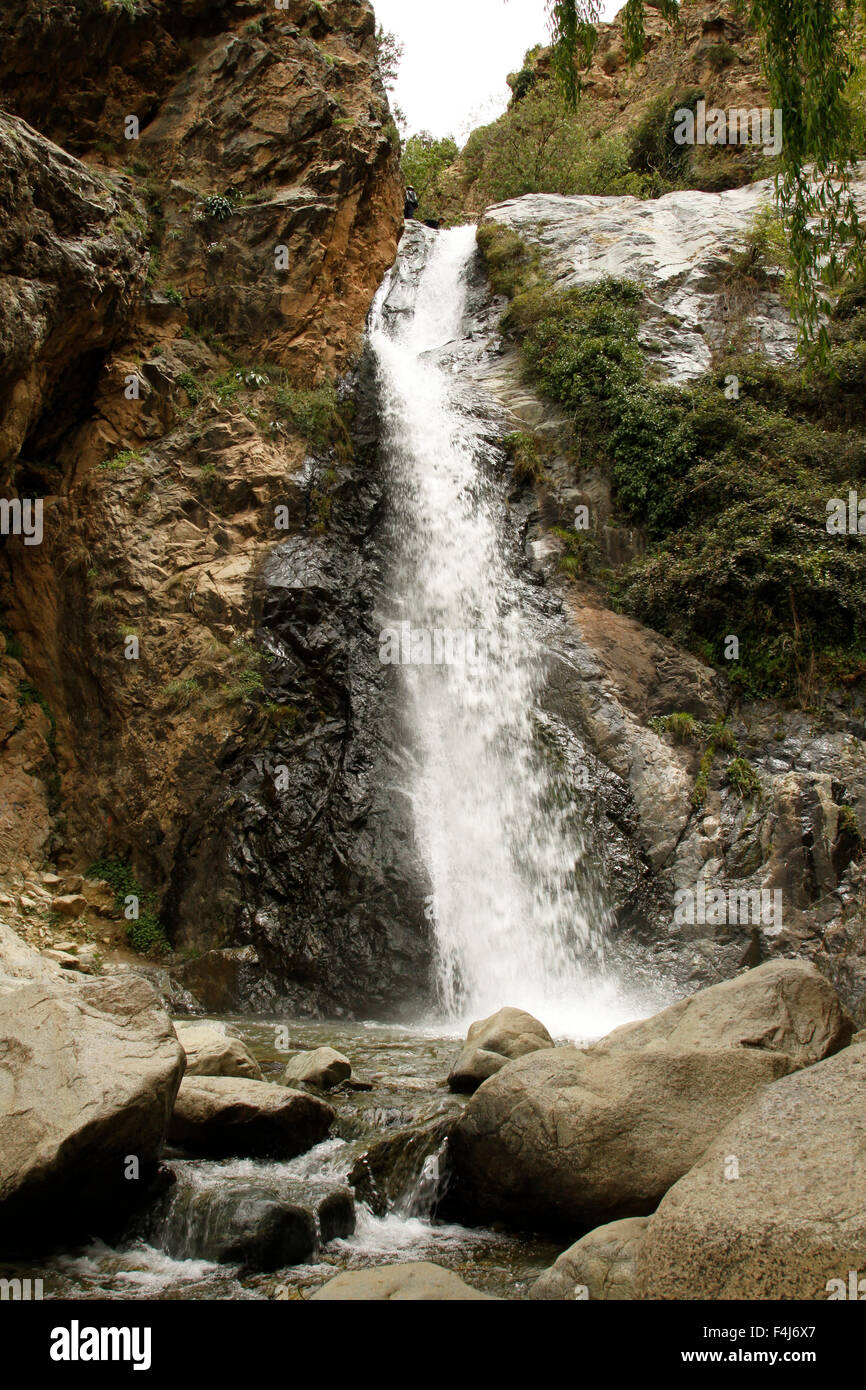 Waterfall at Setti Fatma, a berber village in the Ourika Valley to the south of Marrakesh, Morocco - Stock Image