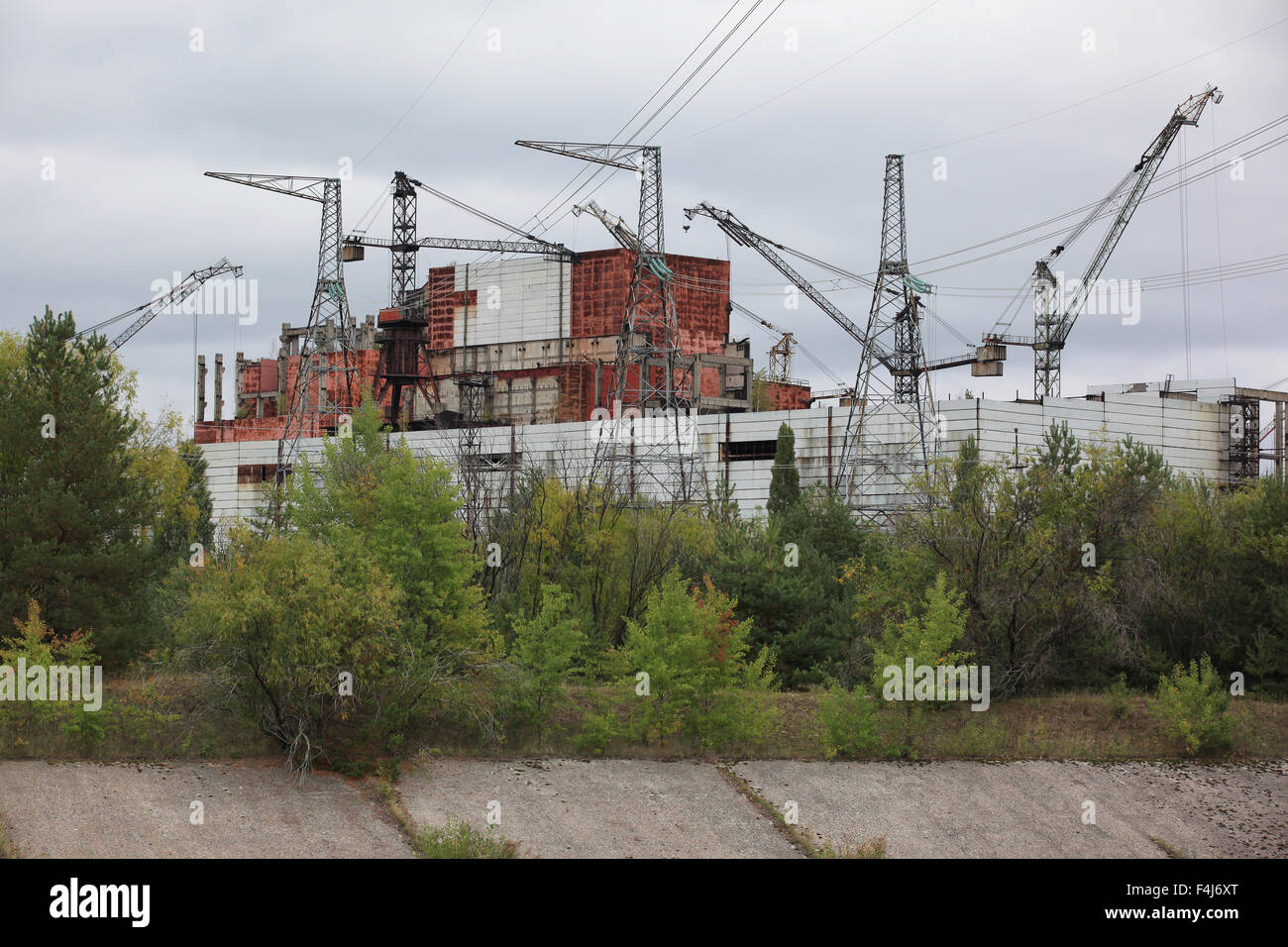 View on the construction of the never completed reactors number 5 and 6 at the Chernobyl nuclear power plant. Pripyat, - Stock Image