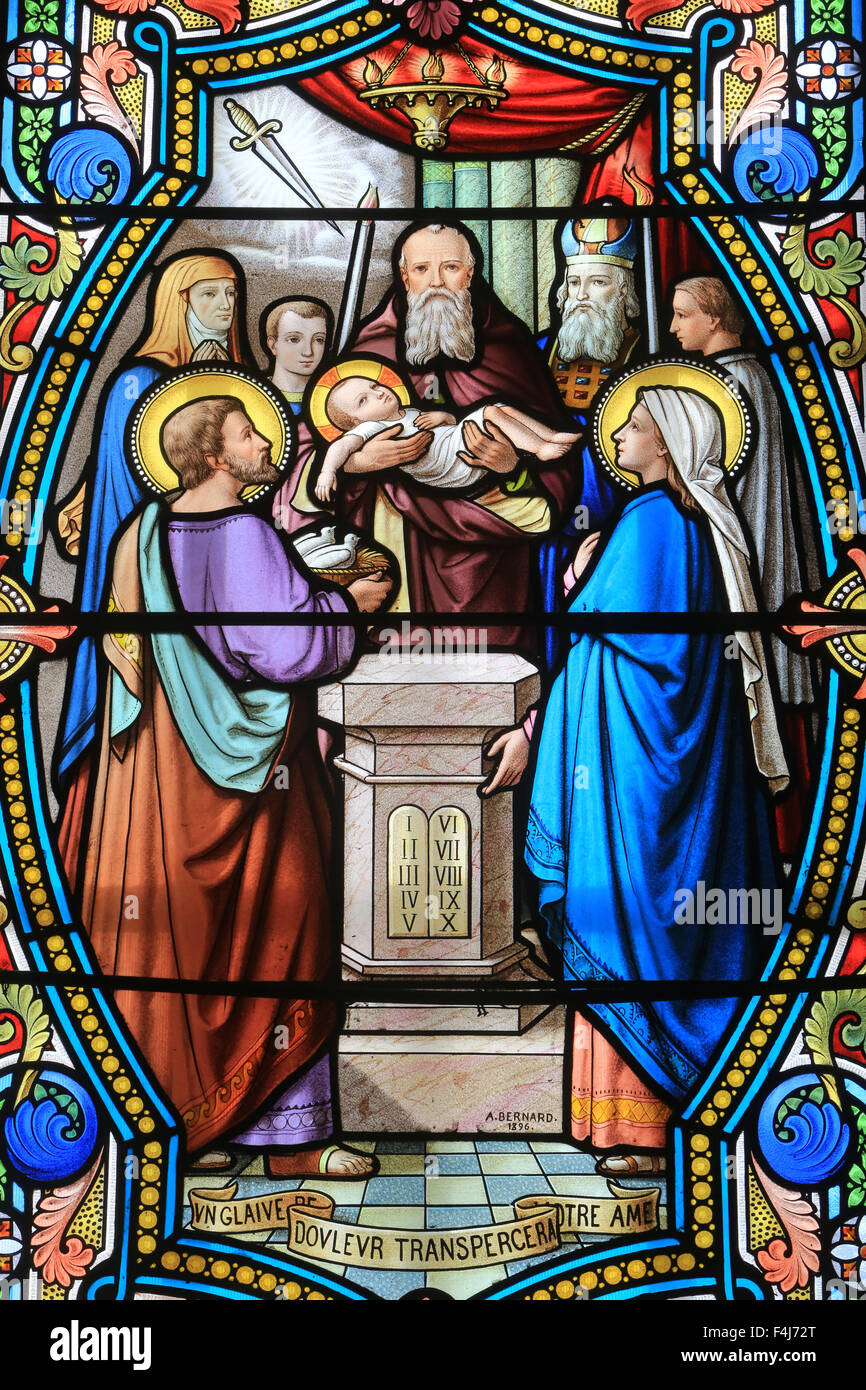 Stained glass window, Shrine of Our Lady of La Salette, La Salette-Fallavaux, Isere, France Stock Photo